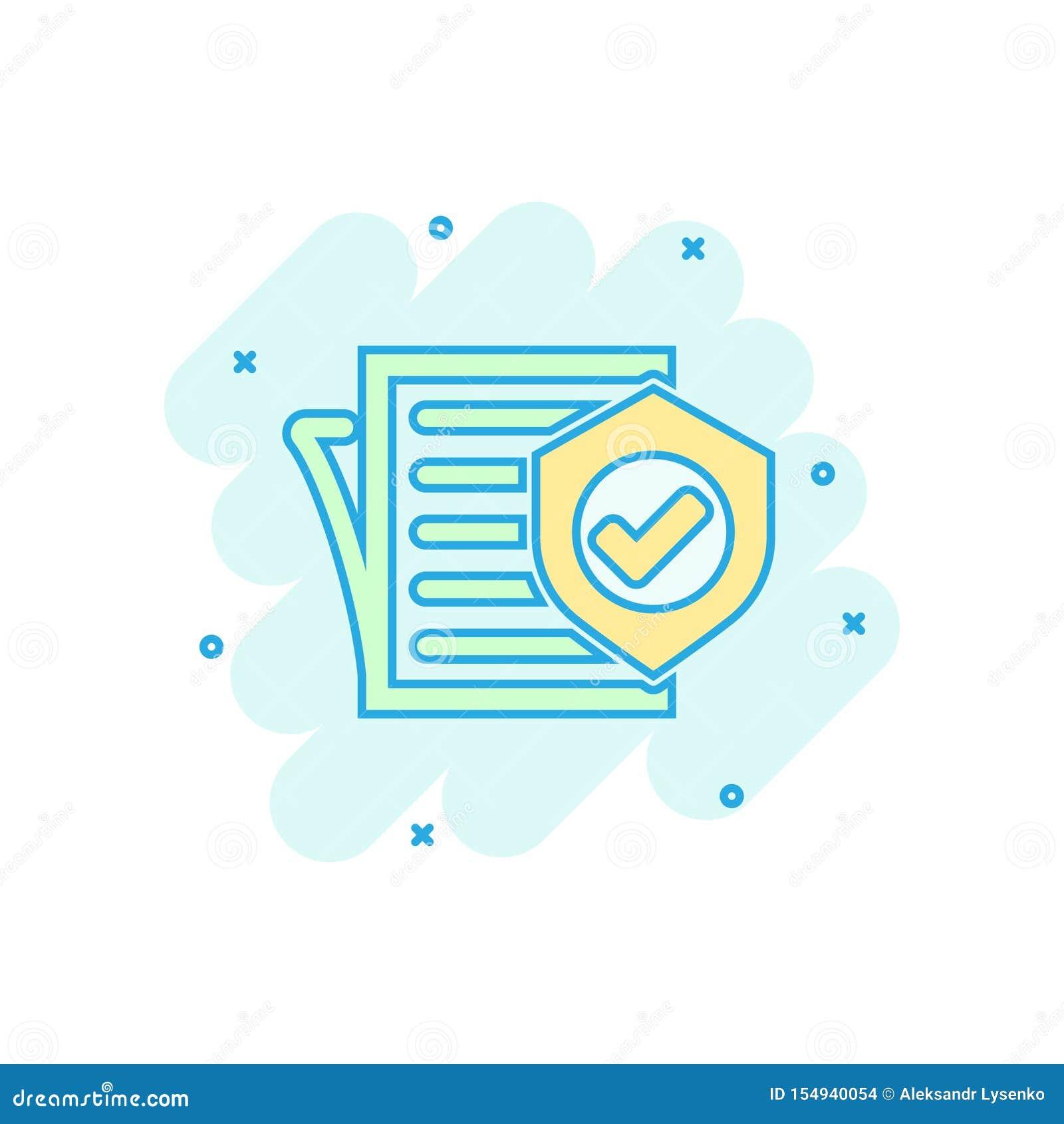 在可笑的样式的保险单象 报告传染媒介在白色被隔绝的背景的动画片例证 文件企业概念
