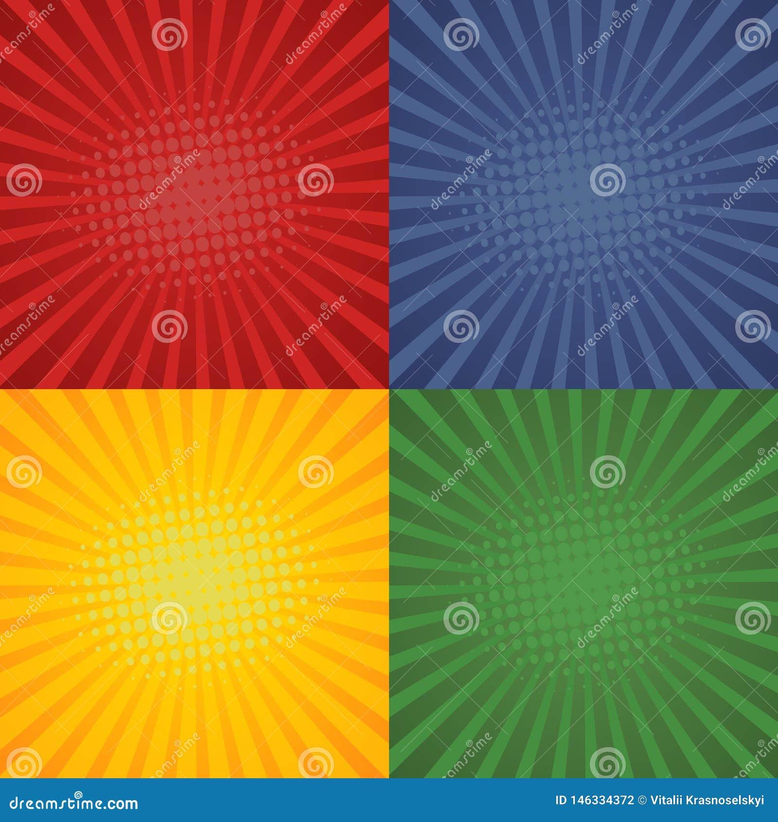 在可笑的设计的流行艺术减速火箭的背景 集合starburst背景 ??