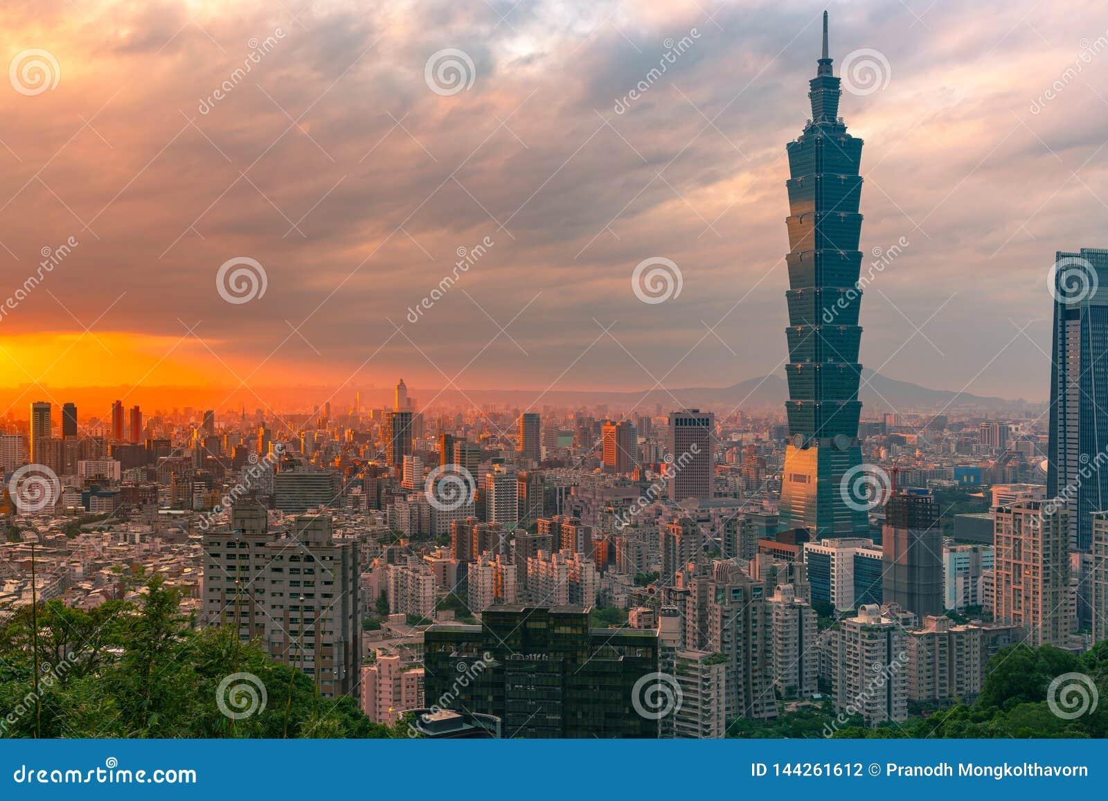 在台北市地平线的日落以后