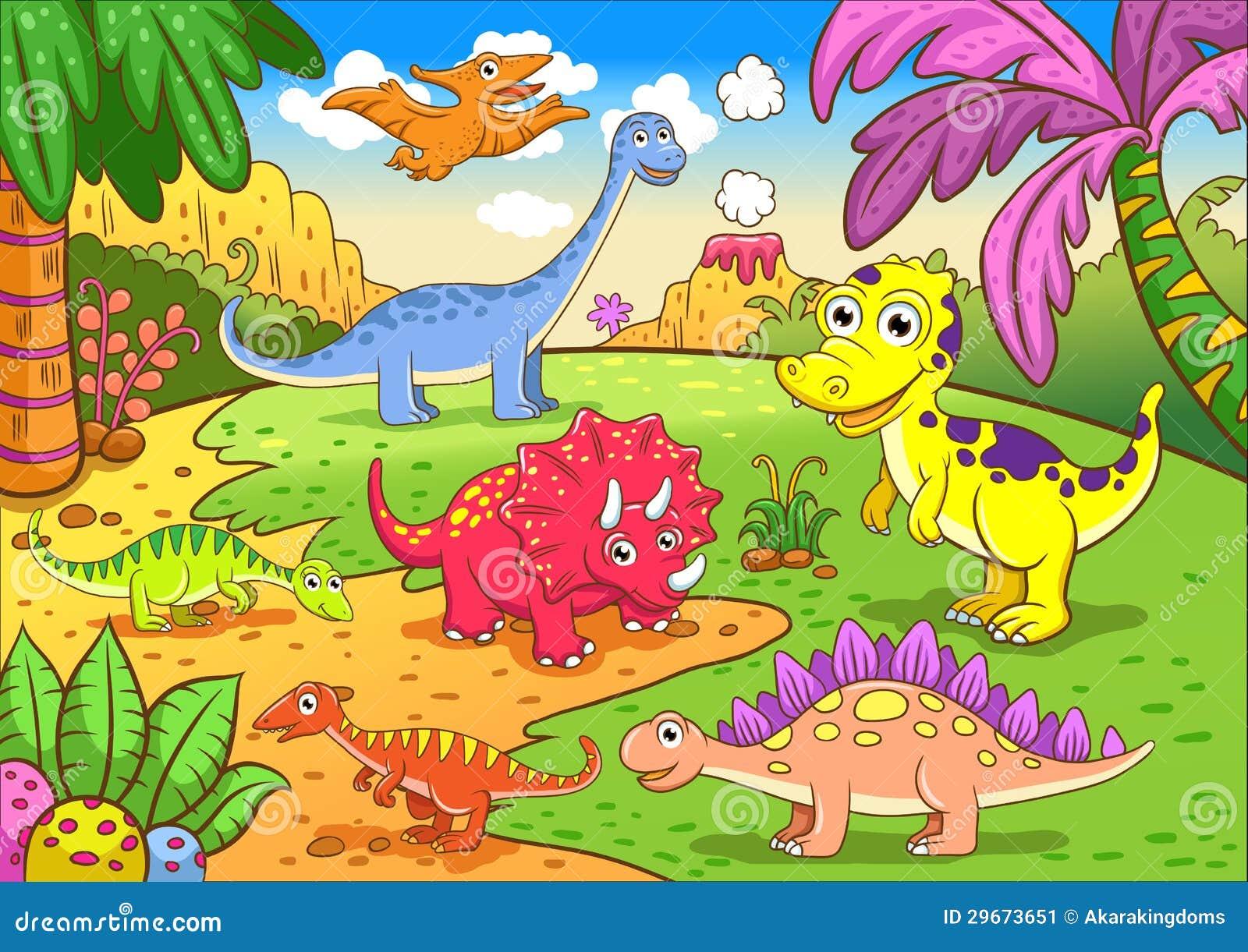 在史前场面的逗人喜爱的恐龙