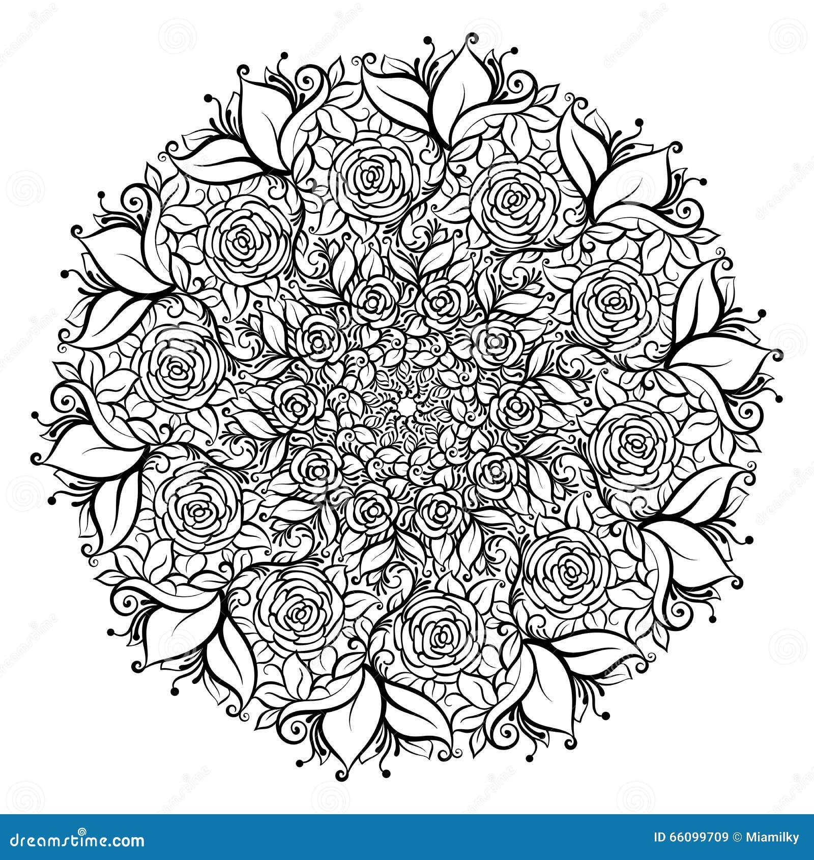 在叶子和漩涡冠的手拉的华丽玫瑰色花  查出的向量例证 邀请元素
