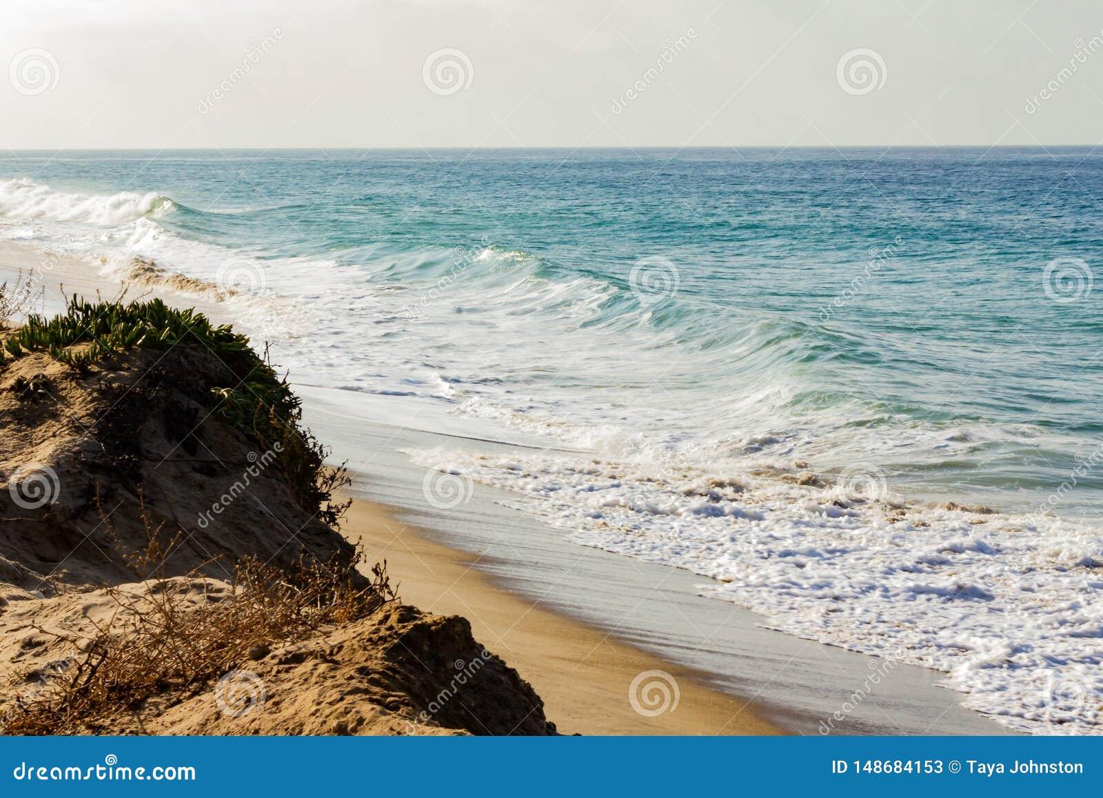 在含沙海岸线的起泡沫的退色的波浪,顶饰的波浪,起泡沫的回流,含沙峭壁上升