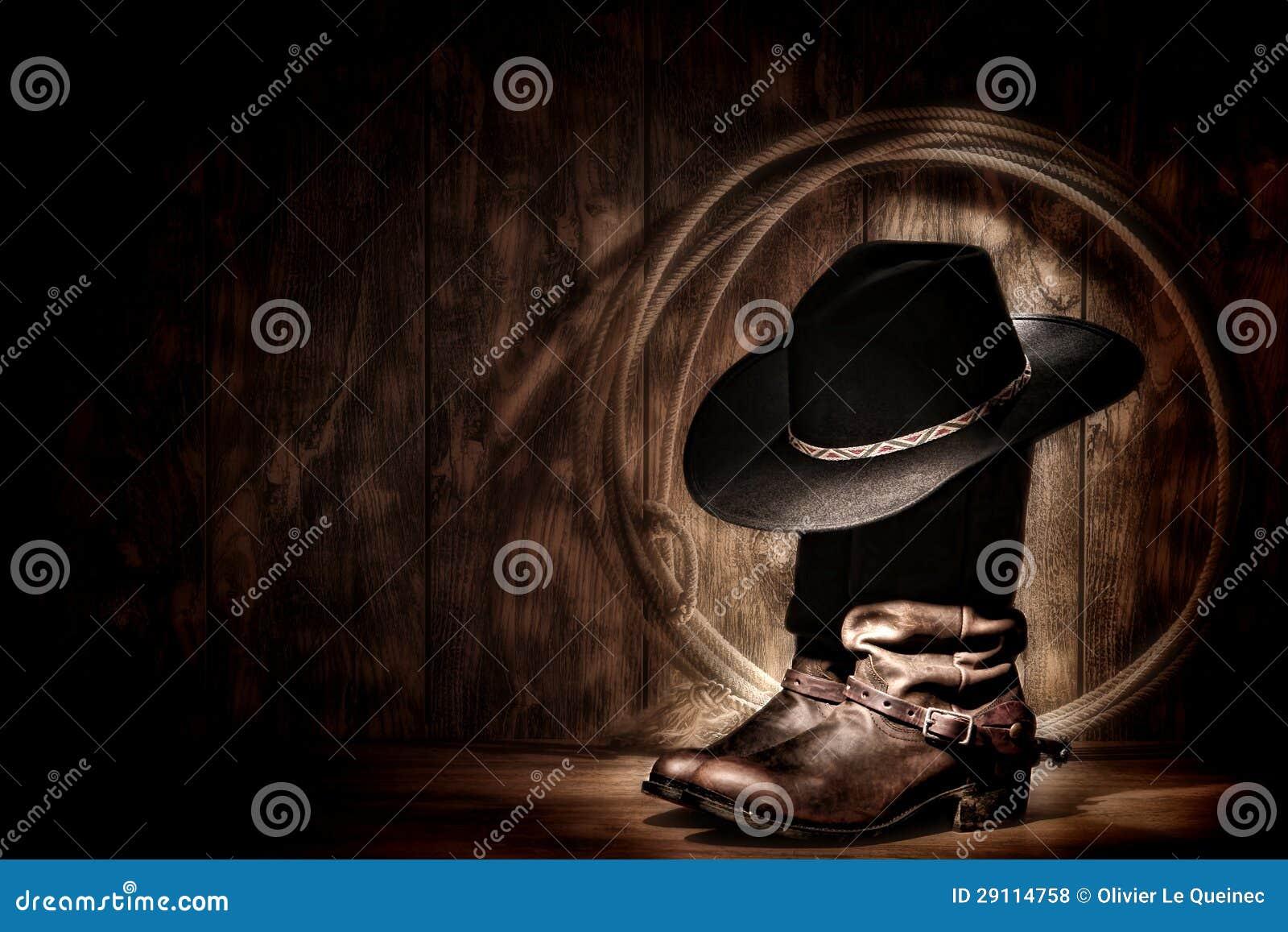 在启动和套索的美国西方圈地牛仔帽