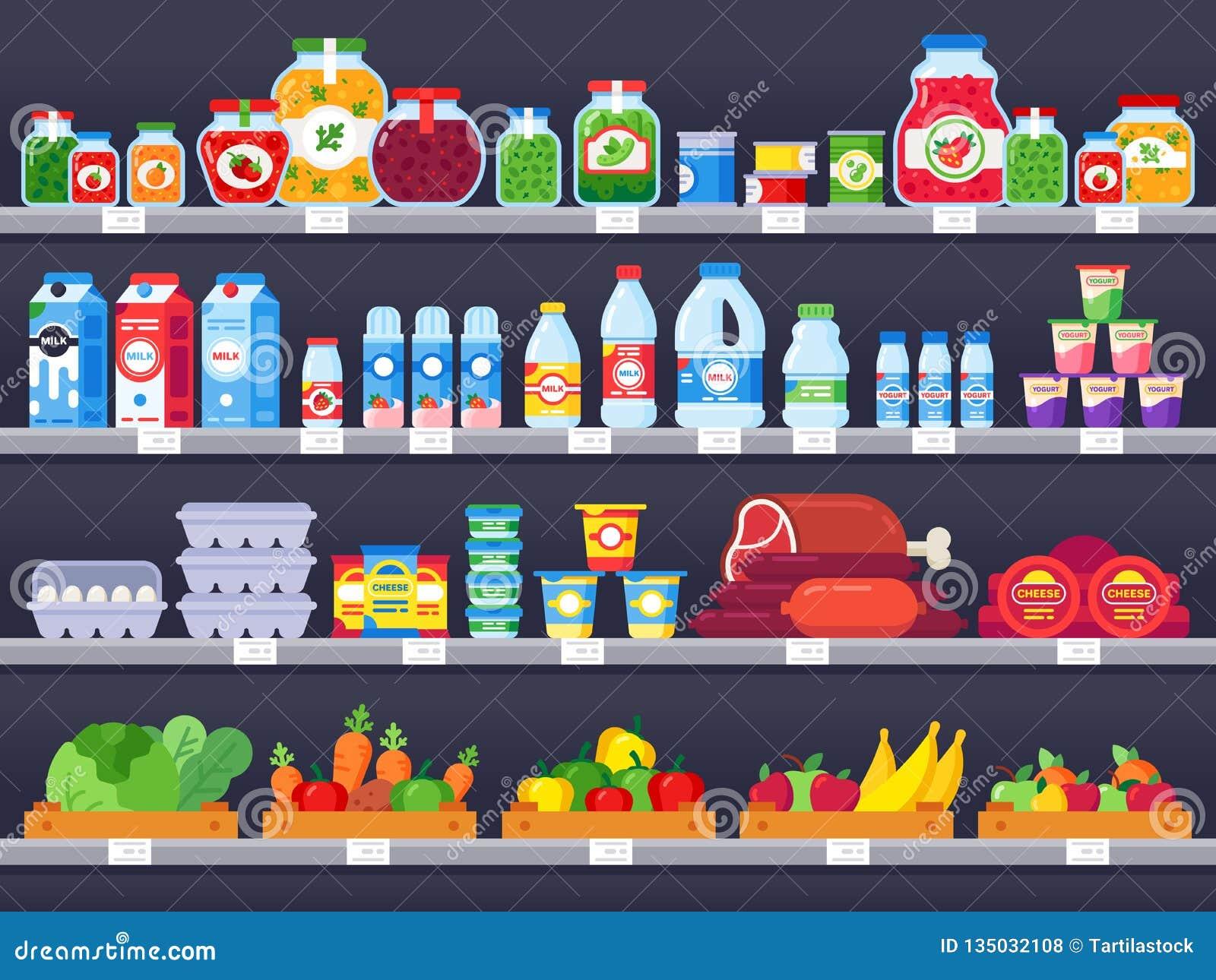 在商店架子的食品 超级市场购物架子、食品店陈列室和选择包装了膳食产品销售