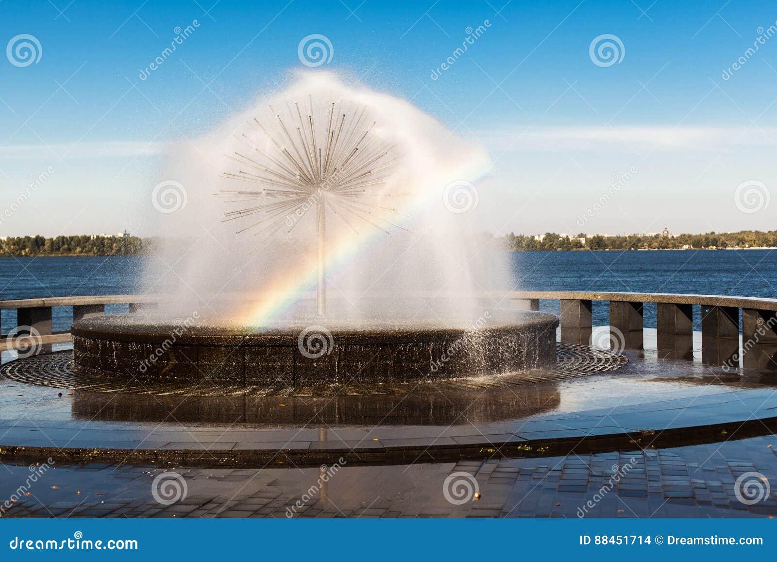 在喷泉的彩虹