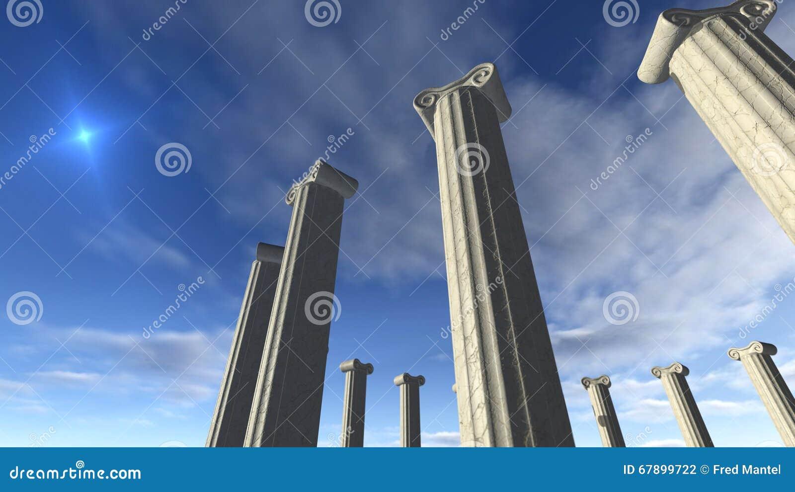 在回合修造的古希腊柱子