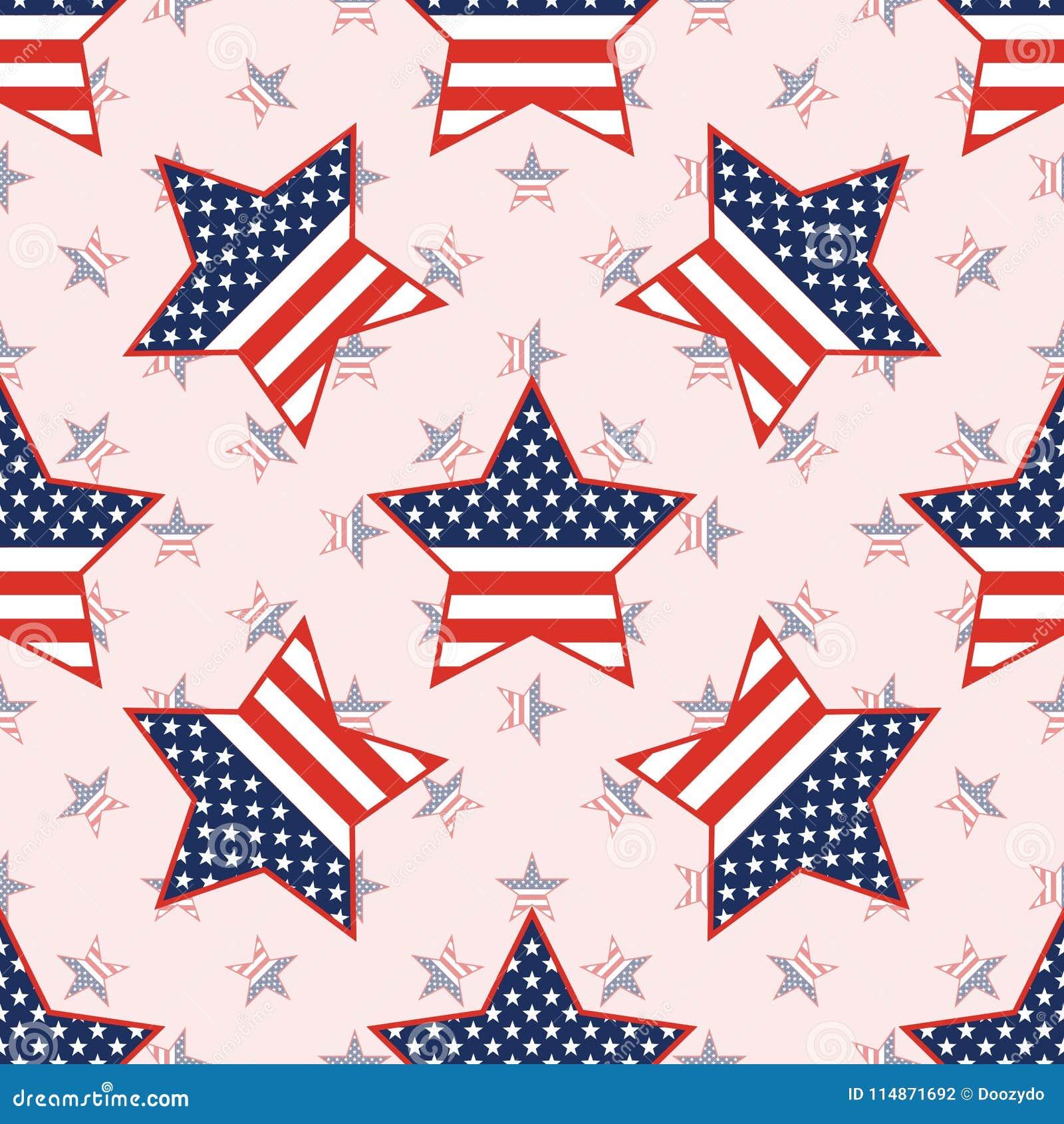 在国民的美国爱国星无缝的样式