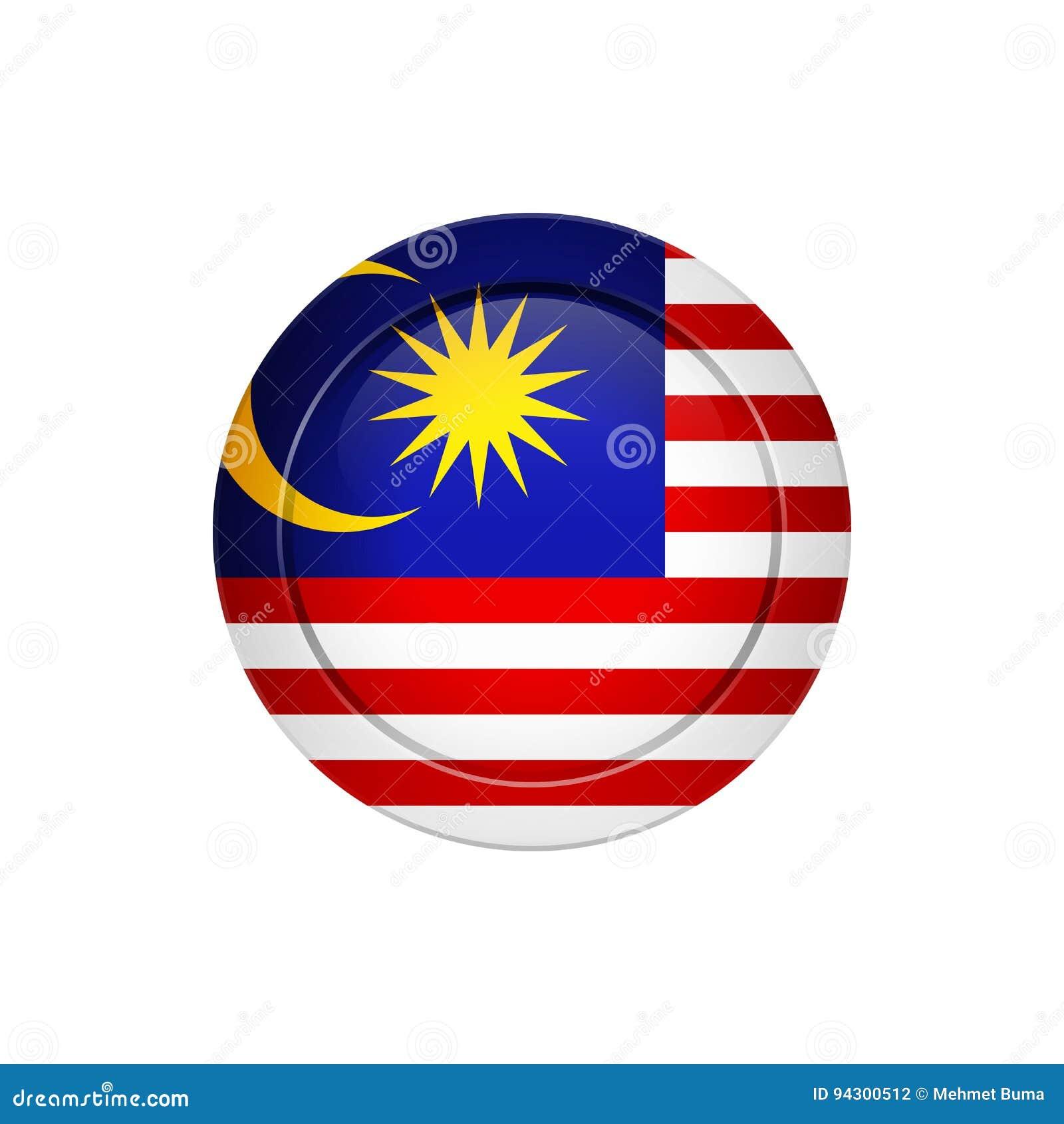 在圆的按钮的马来西亚旗子,例证