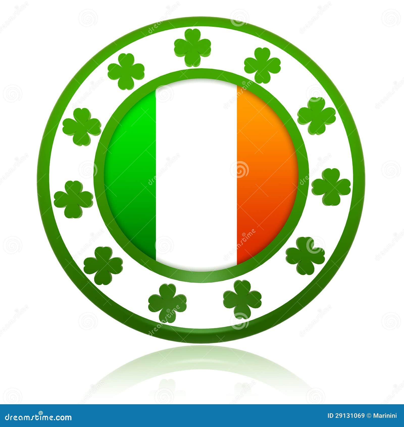 在3d圈子徽章的爱尔兰标志与绿色三叶草.图片