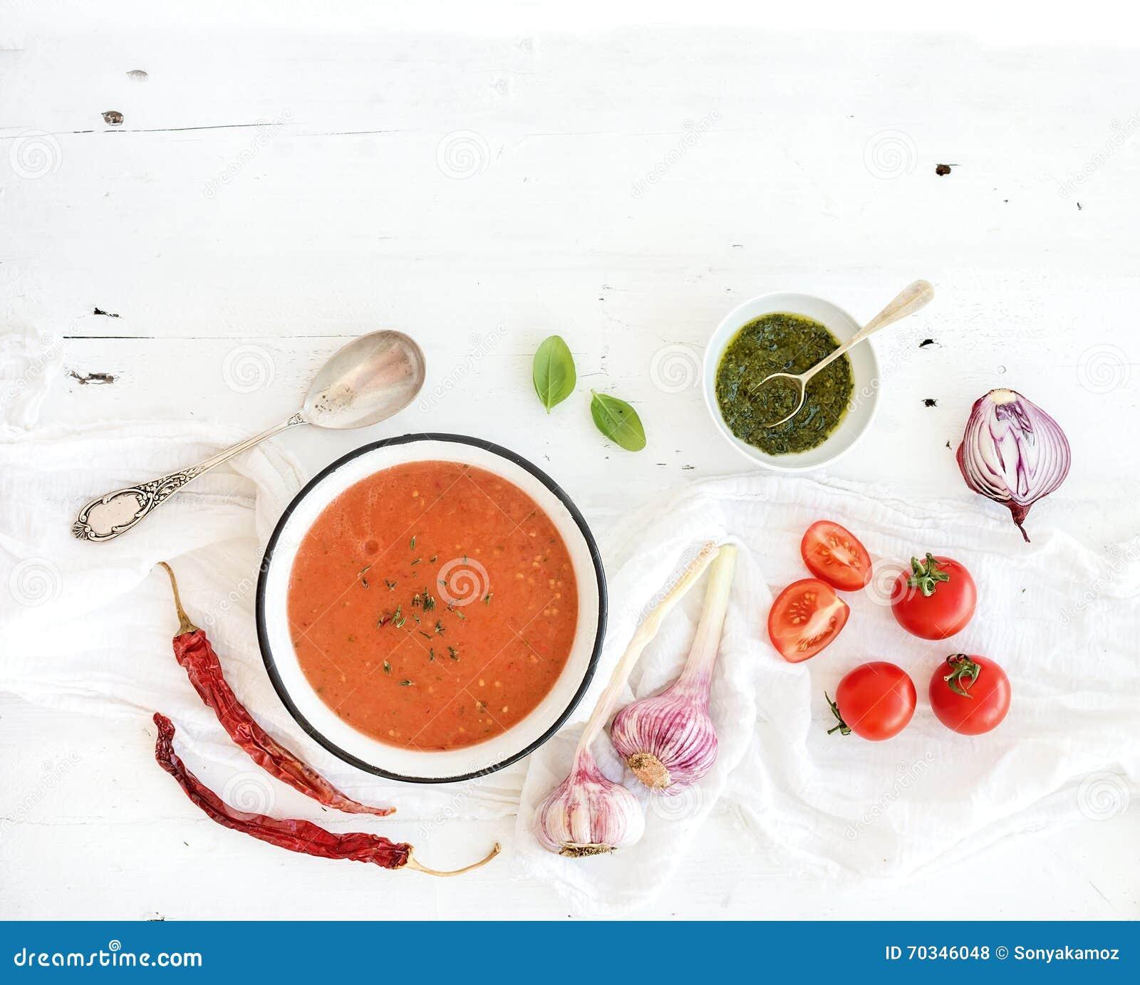 在土气金属碗的Gazpacho汤用新鲜的蕃茄、绿色调味汁、辣椒、大蒜和蓬蒿