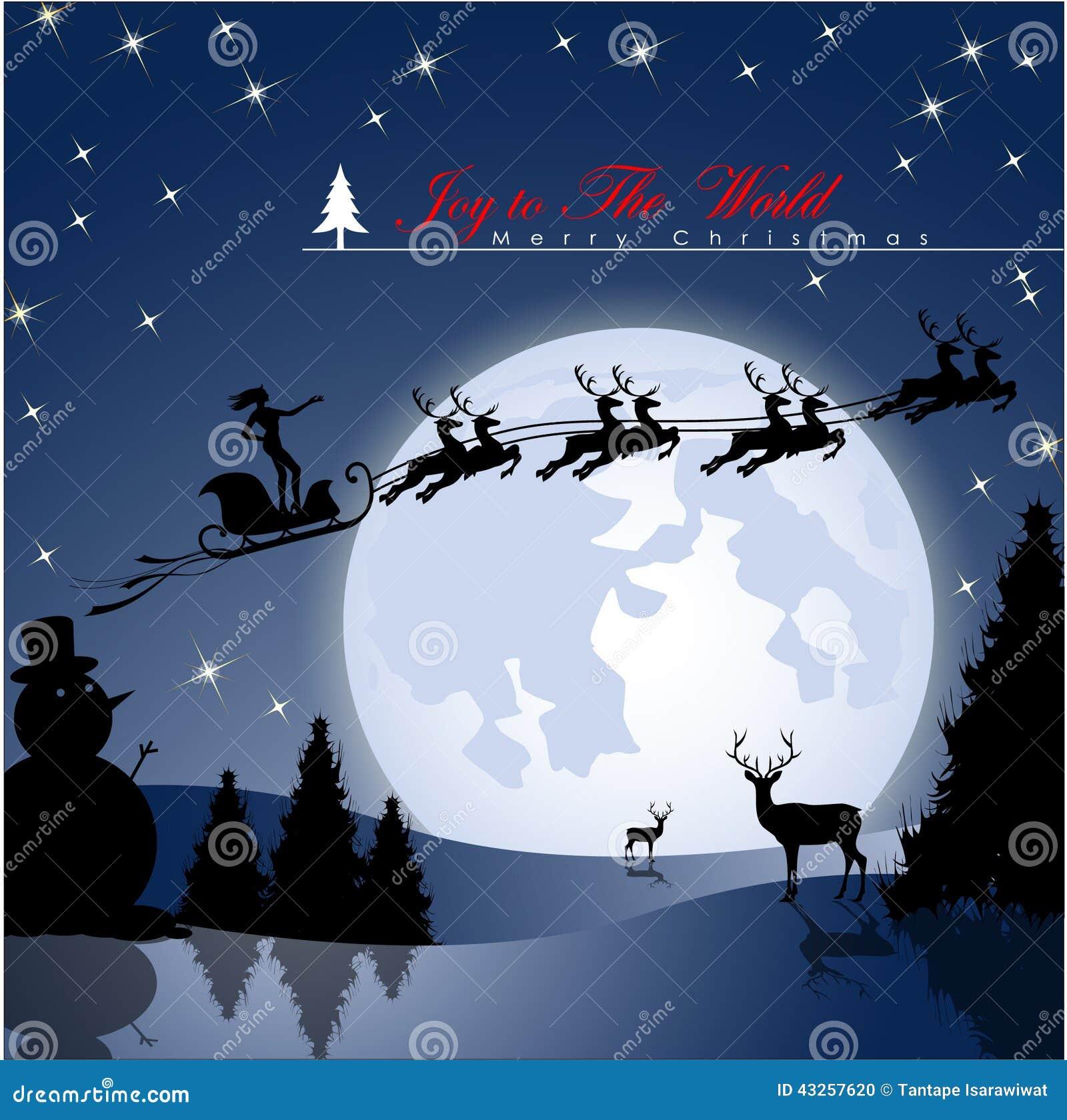 在圣诞老人的雪橇的幸运的妇女飞行