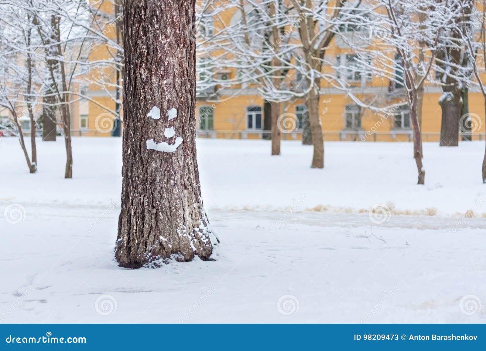 在圣诞节的微笑的树