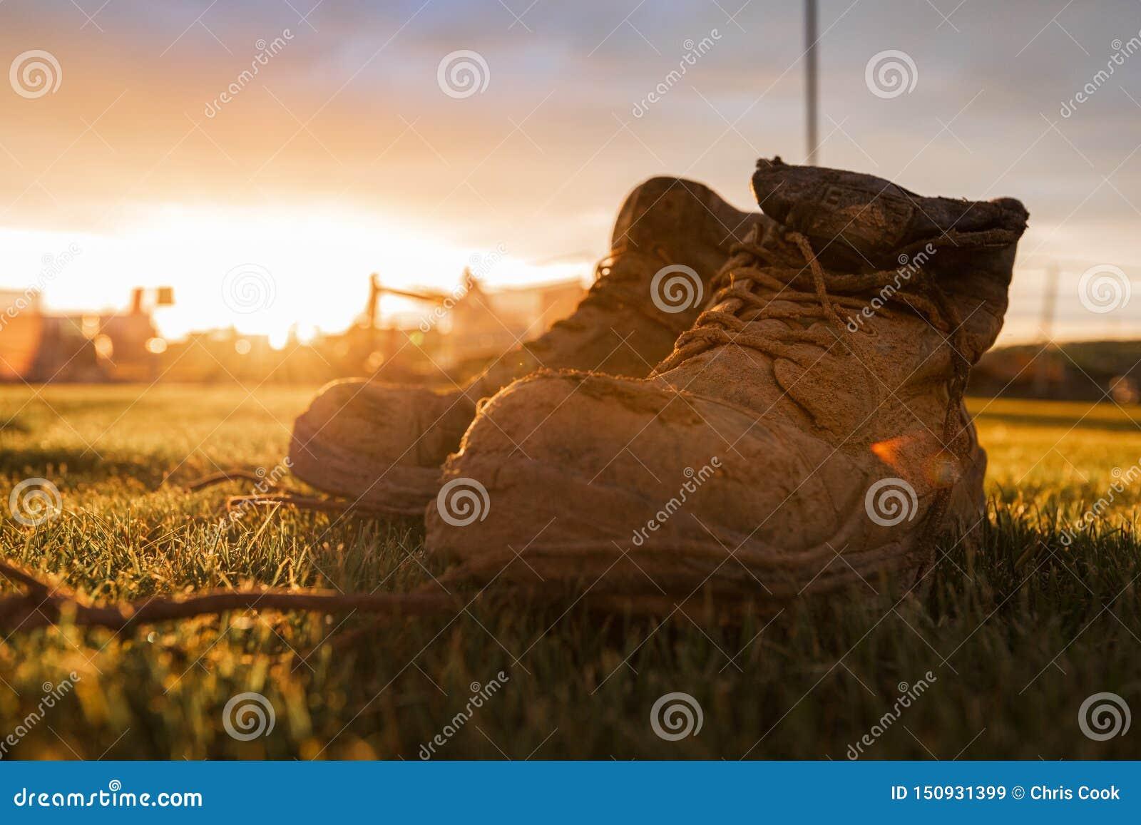 在在明亮的日落前面的泥盖的工地工作的安全起动