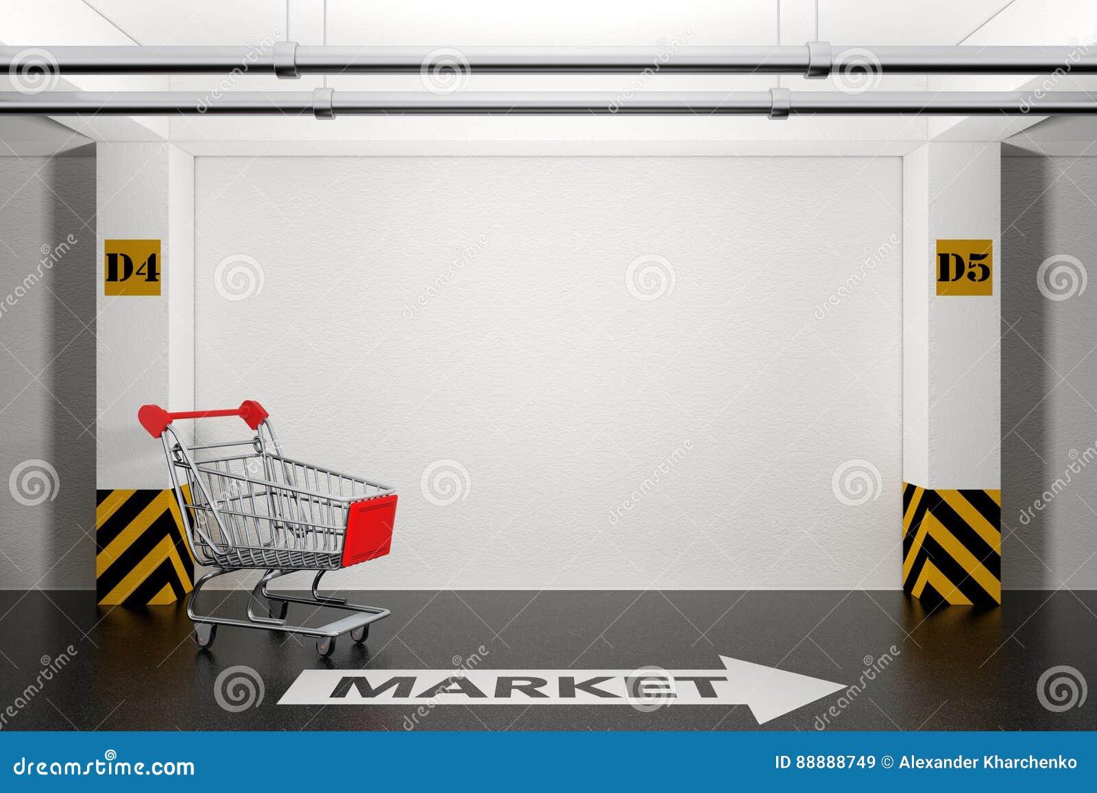 在地下停车库的被放弃的购物车与箭头