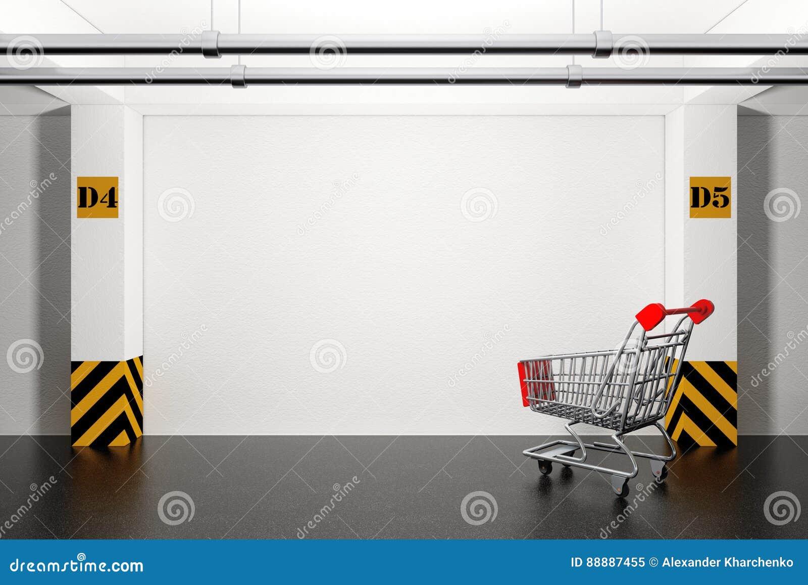 在地下停车库的被放弃的购物车 3d回报