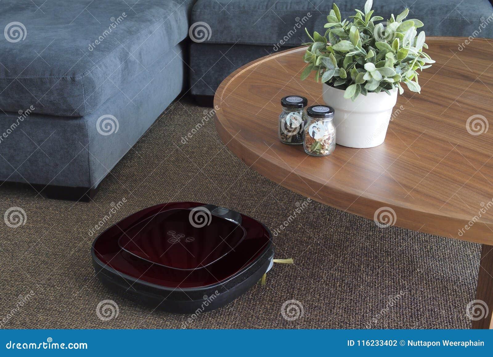 在地毯的机器人吸尘器在客厅