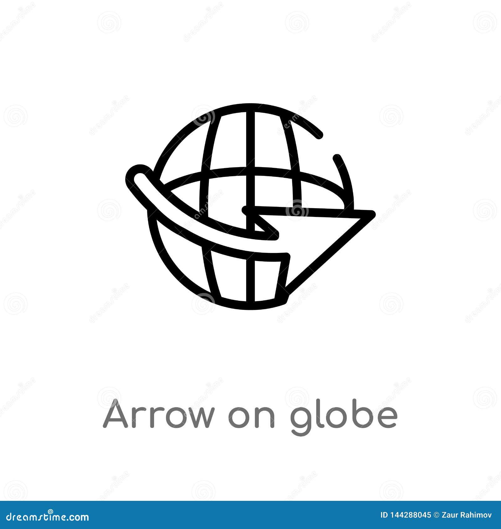在地球传染媒介象的概述箭头 被隔绝的黑简单的从地图和旗子概念的线元例证 编辑可能的传染媒介