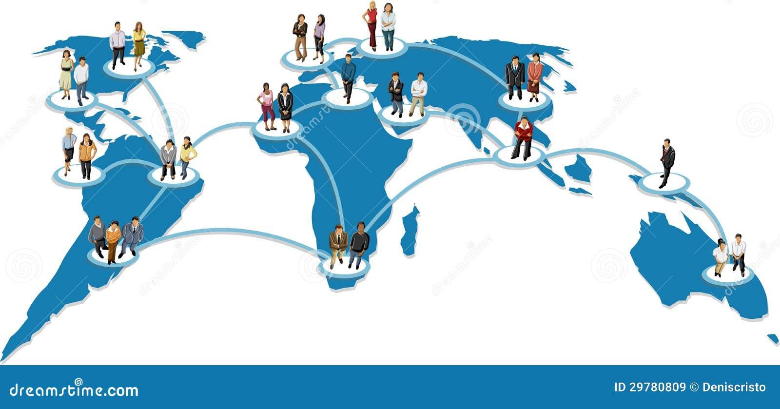 在地球地球的被联络的人. 社会网络.图片
