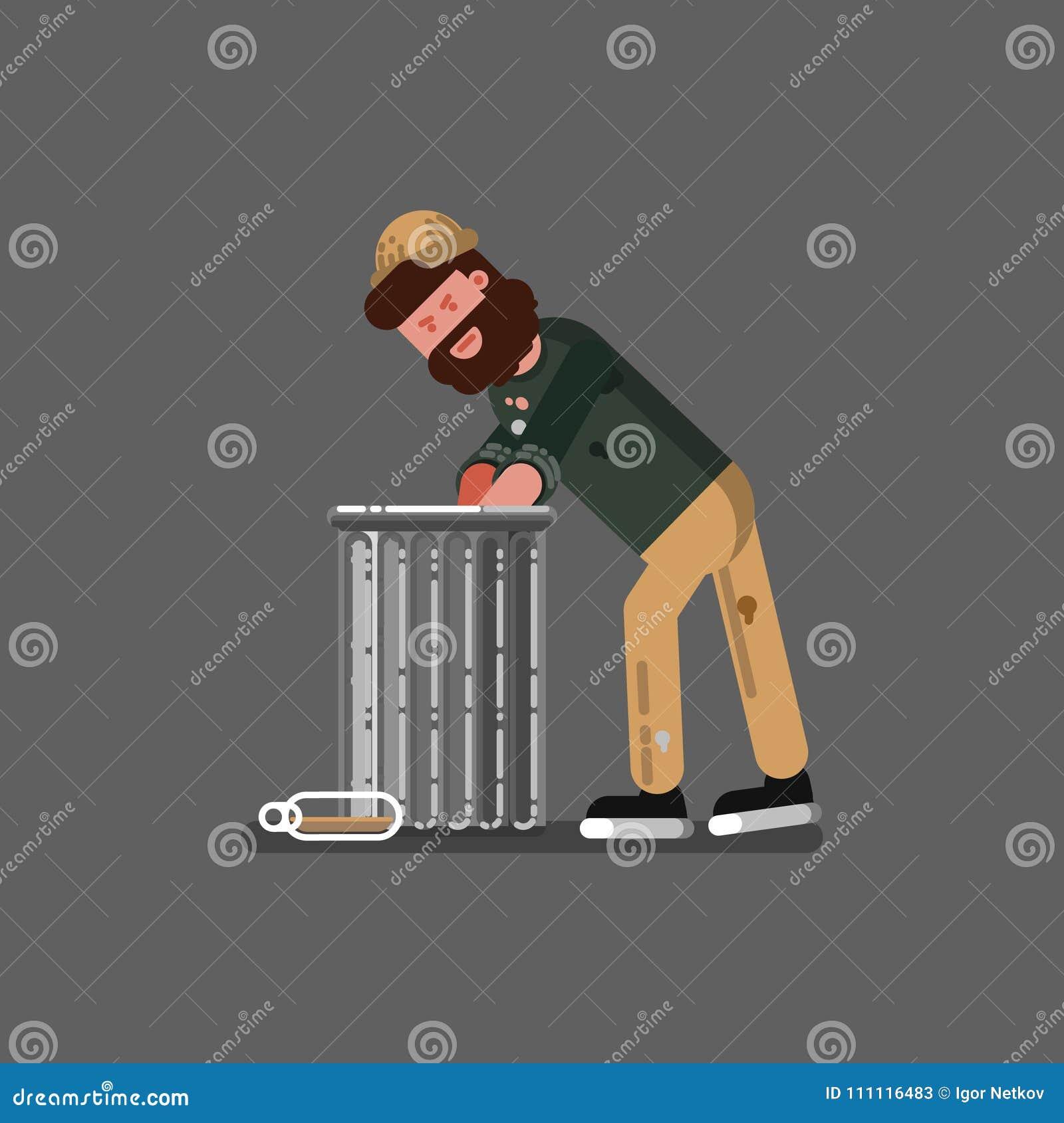 在垃圾的无家可归者开掘