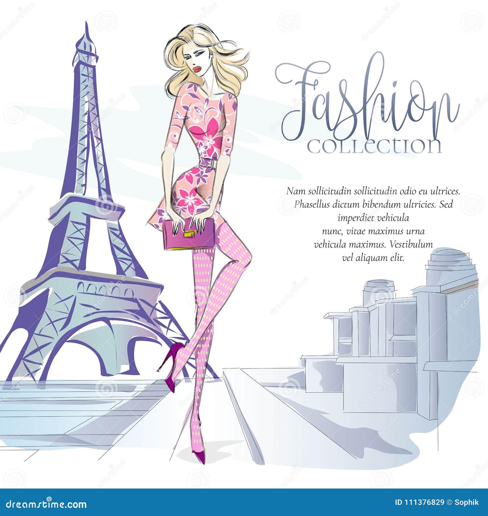 在埃佛尔铁塔附近塑造妇女在巴黎,与文本模板,网上与美丽的女孩的购物社会媒介广告的时尚横幅
