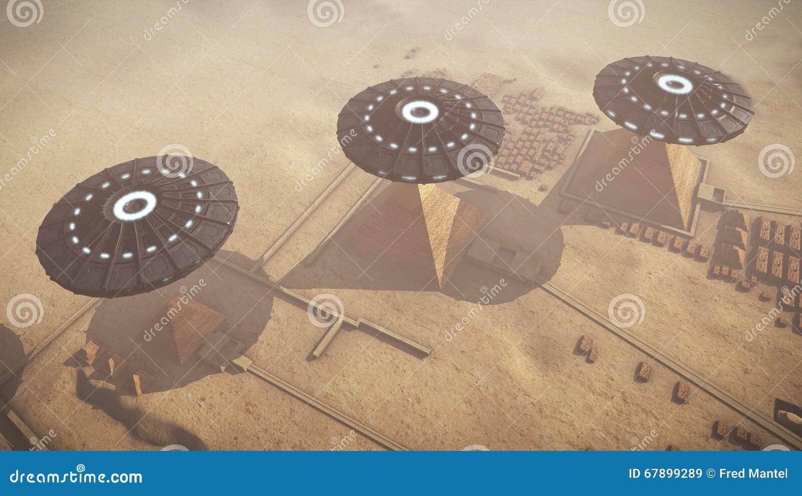 在埃及吉萨棉平台上的UFOs