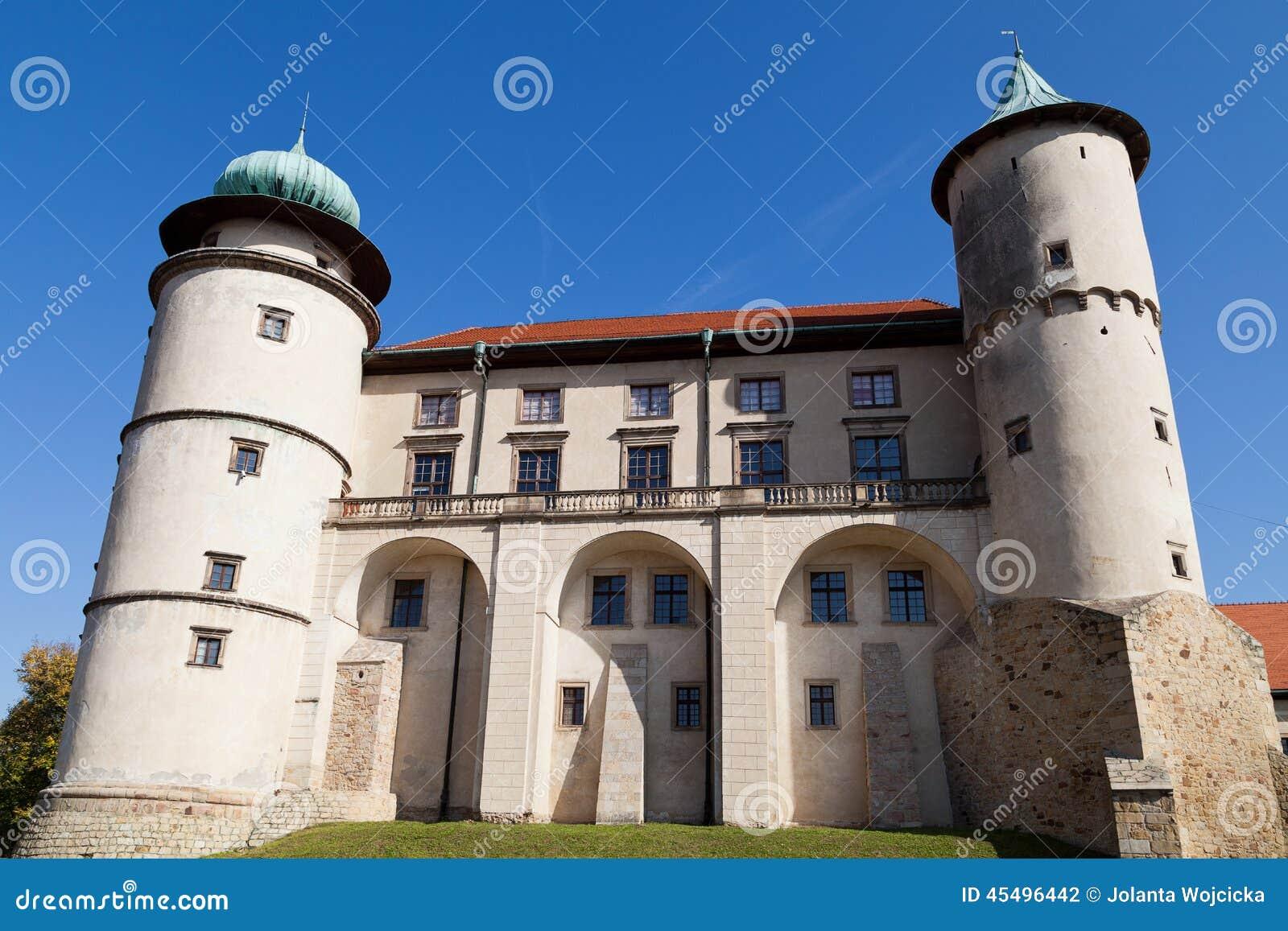 在城堡Nowy Wisnicz的看法在蓝天背景的波兰