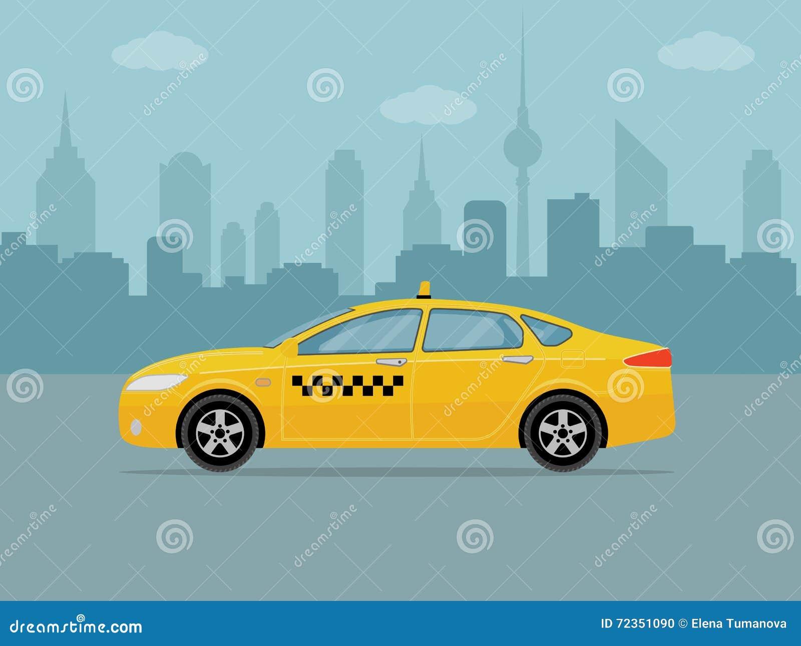 在城市背景的出租汽车汽车