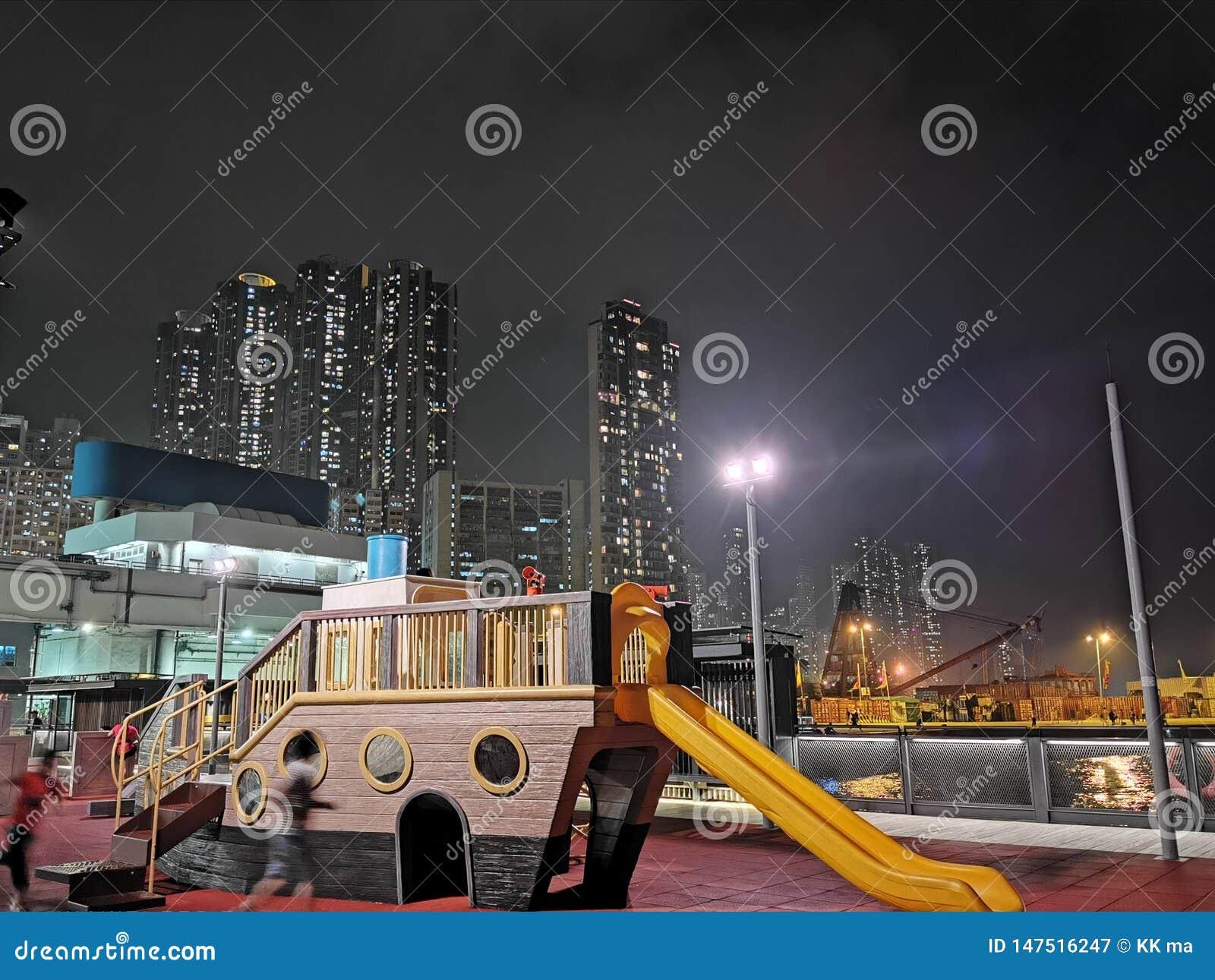 在城市香港的夜