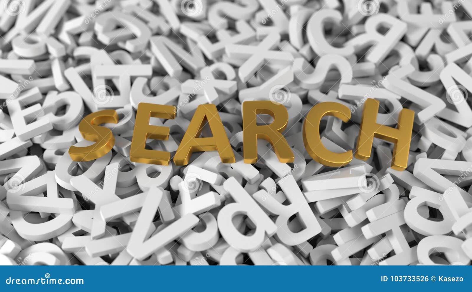 在堆的金黄`查寻`文本白色信件 3d例证