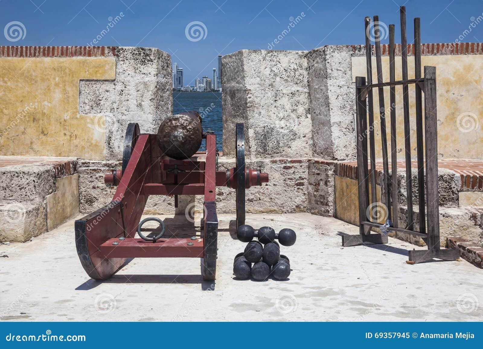 在堡垒圣塞瓦斯蒂安del Pastelillo的大炮