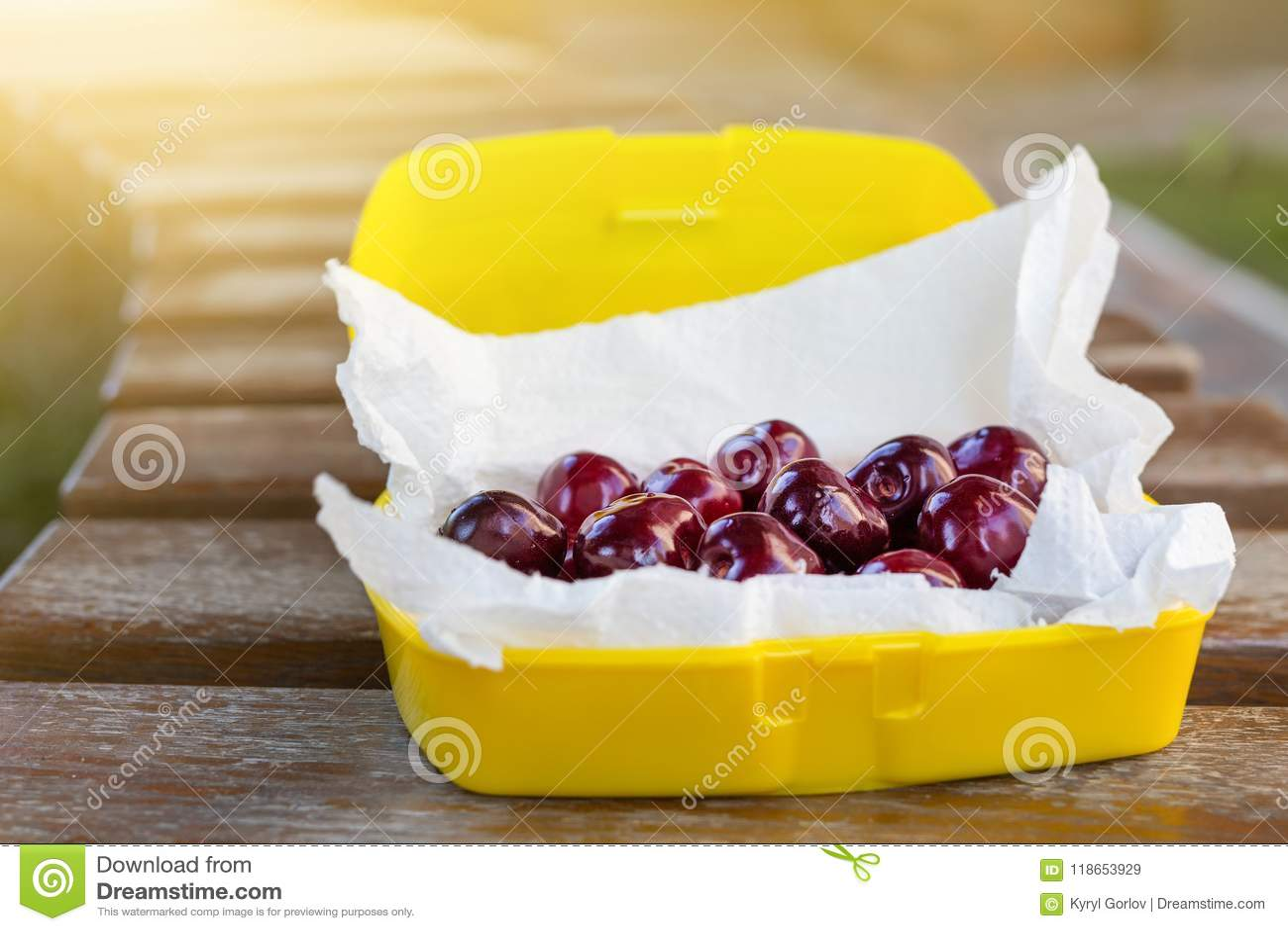 在塑料饭盒oudoors的成熟新鲜的鲜美生物樱桃 有机甜野餐的莓果外带的快的食物 在b的木桌