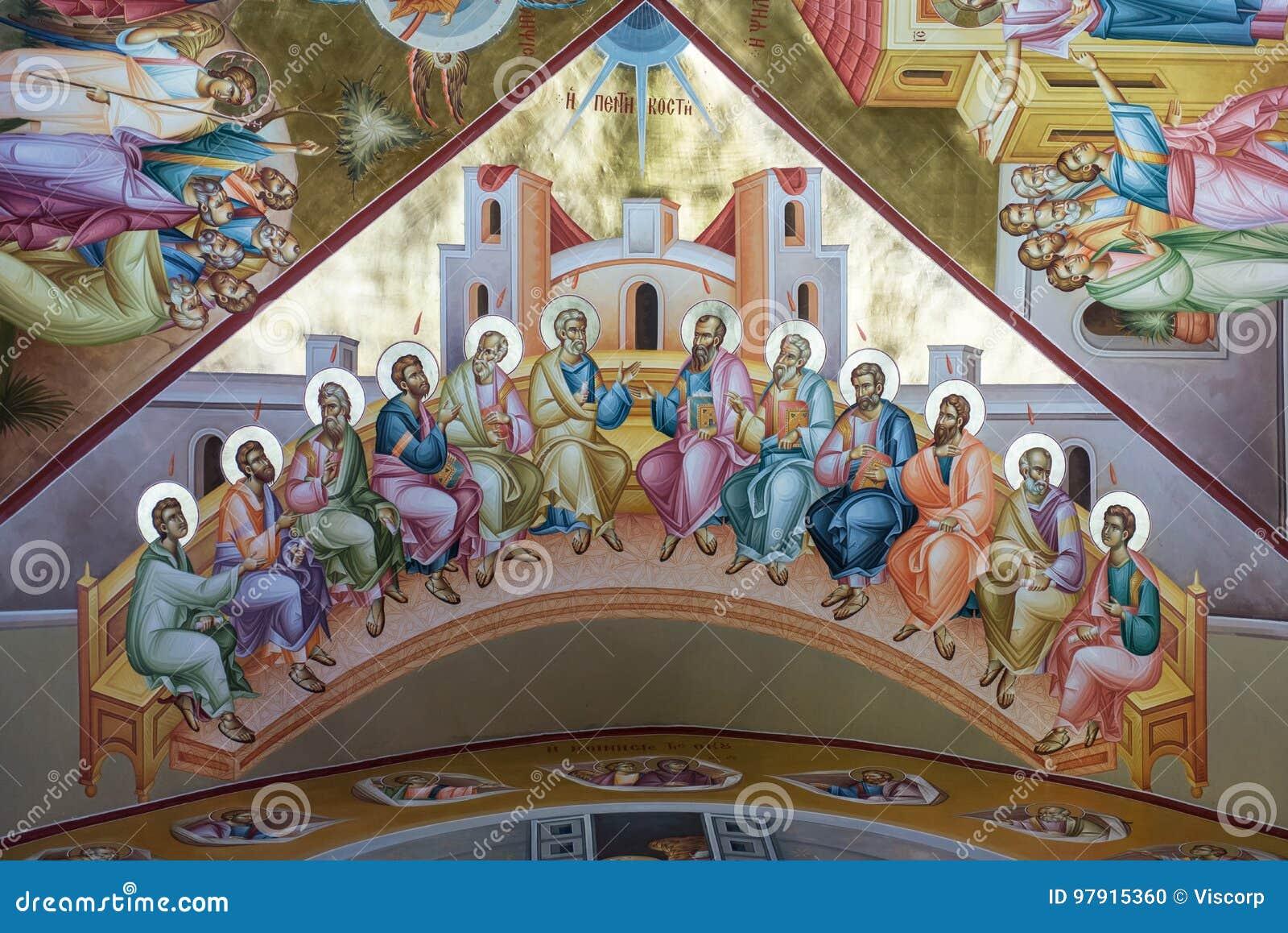 在塔博尔的Pentecost壁画