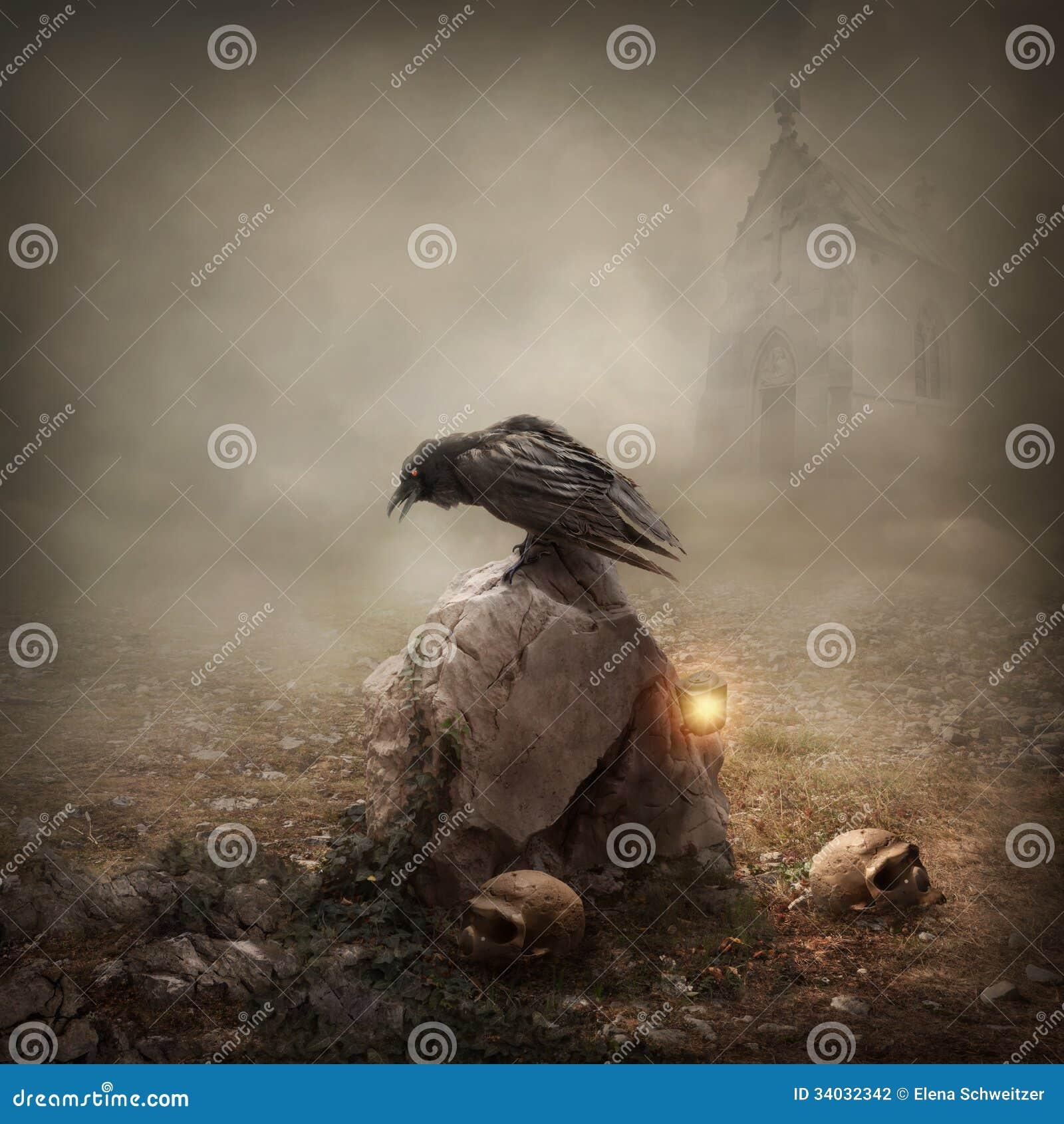 在墓碑的乌鸦