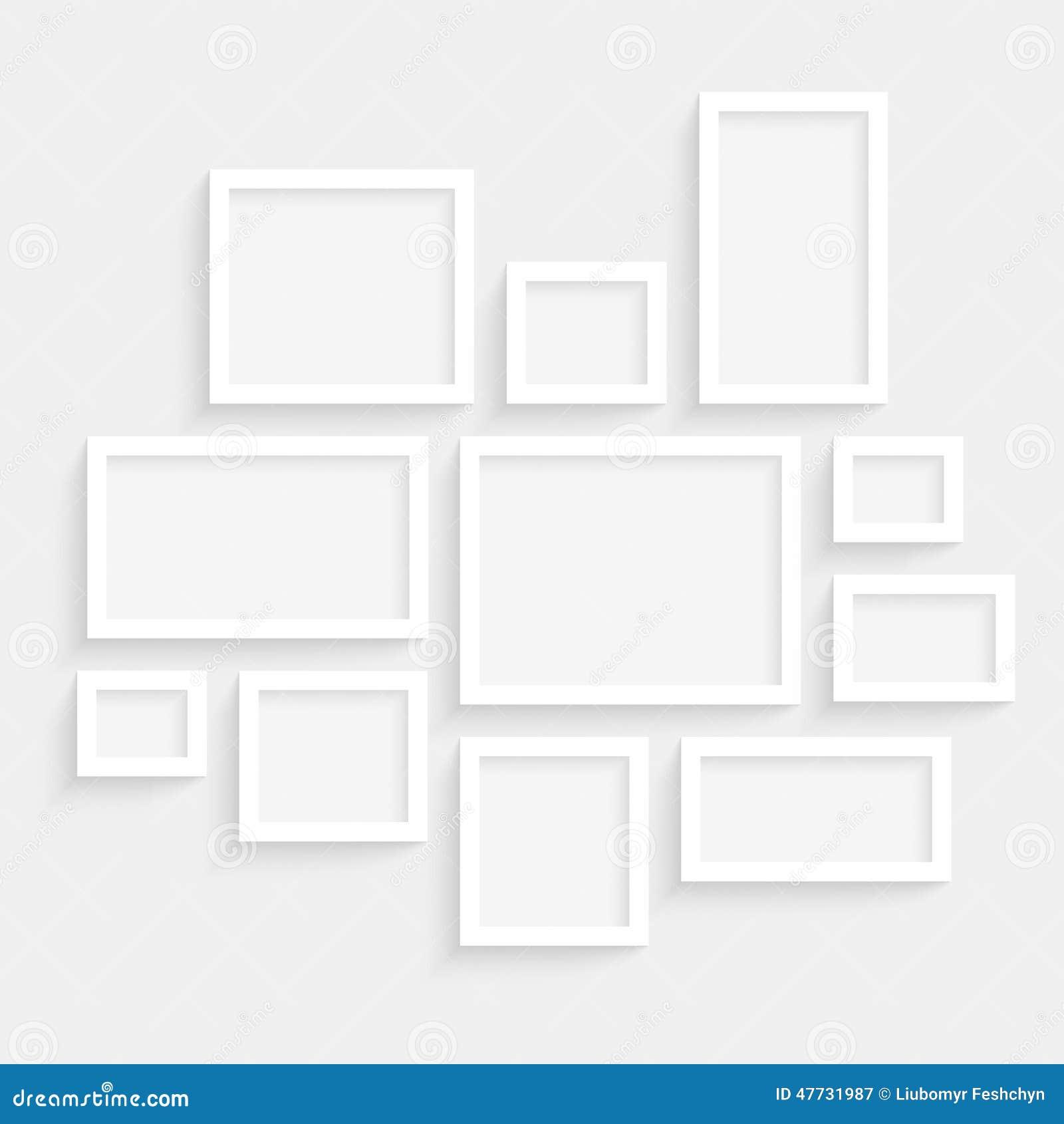 在墙壁上的传染媒介空白的框架收藏有透明现实屏蔽效应的