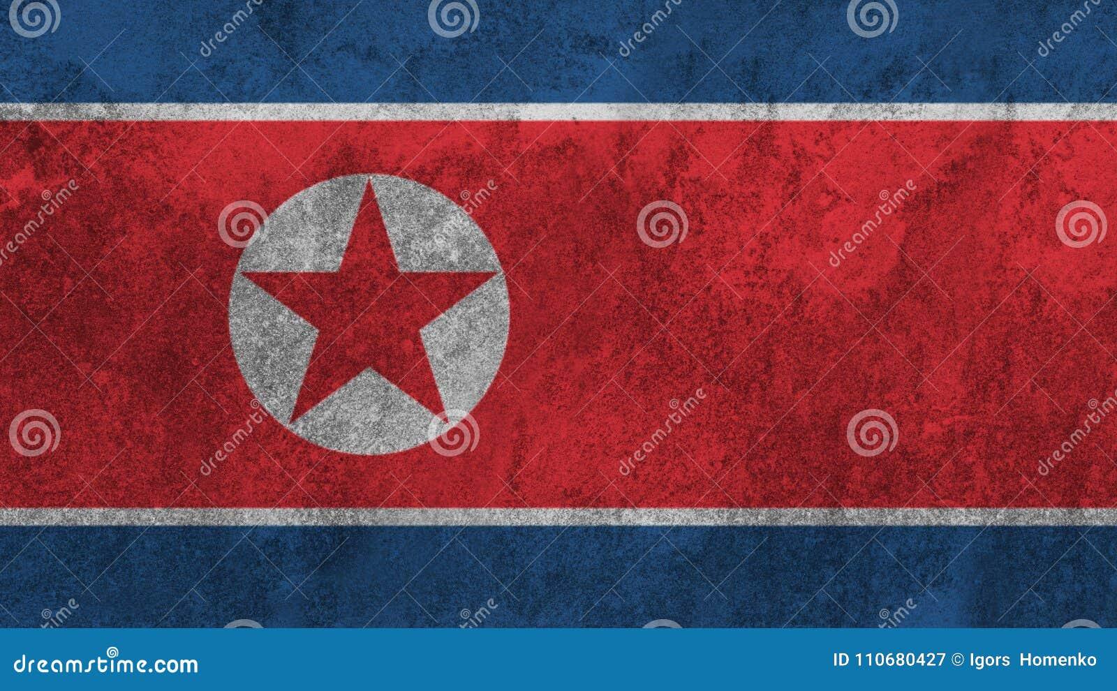 在墙壁上绘的北朝鲜的旗子