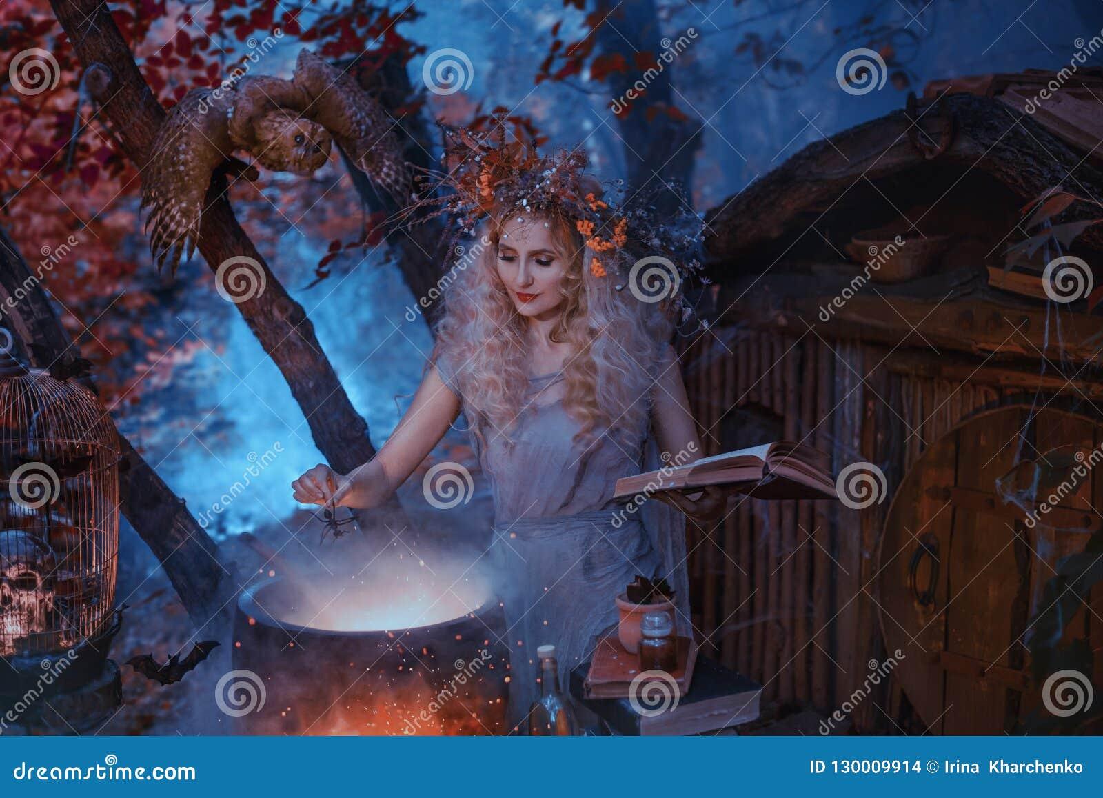 在处理的艺术的大气冷的秋天照片,一个好巫婆在他的森林家附近创造不可思议的不老长寿药,对负