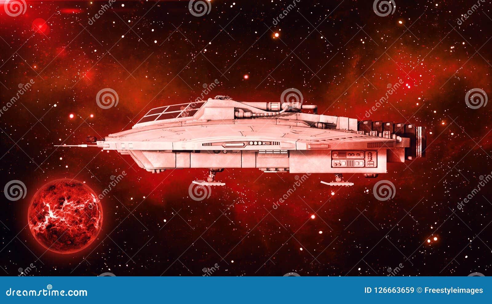 在外层空间,飞碟航天器飞行在宇宙与行星和星的外籍人太空飞船在背景,侧视图, 3D中回报