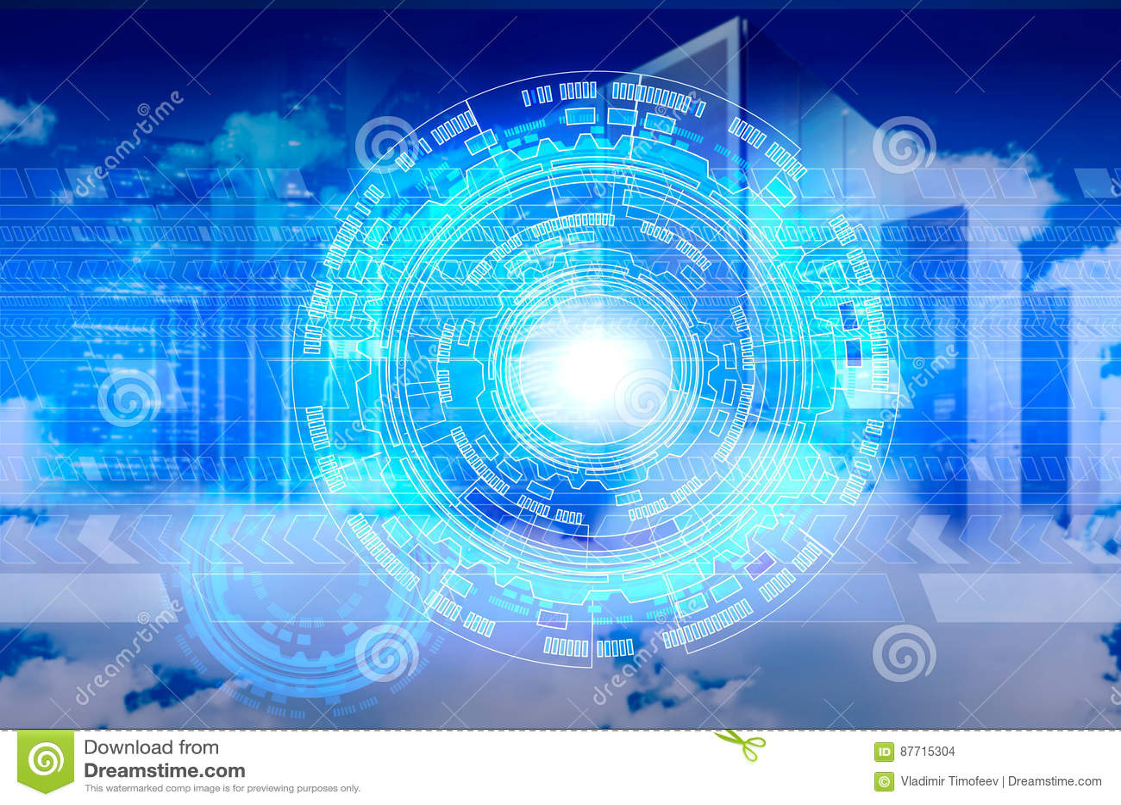 在多云天空的抽象计算机作为云彩计算的标志