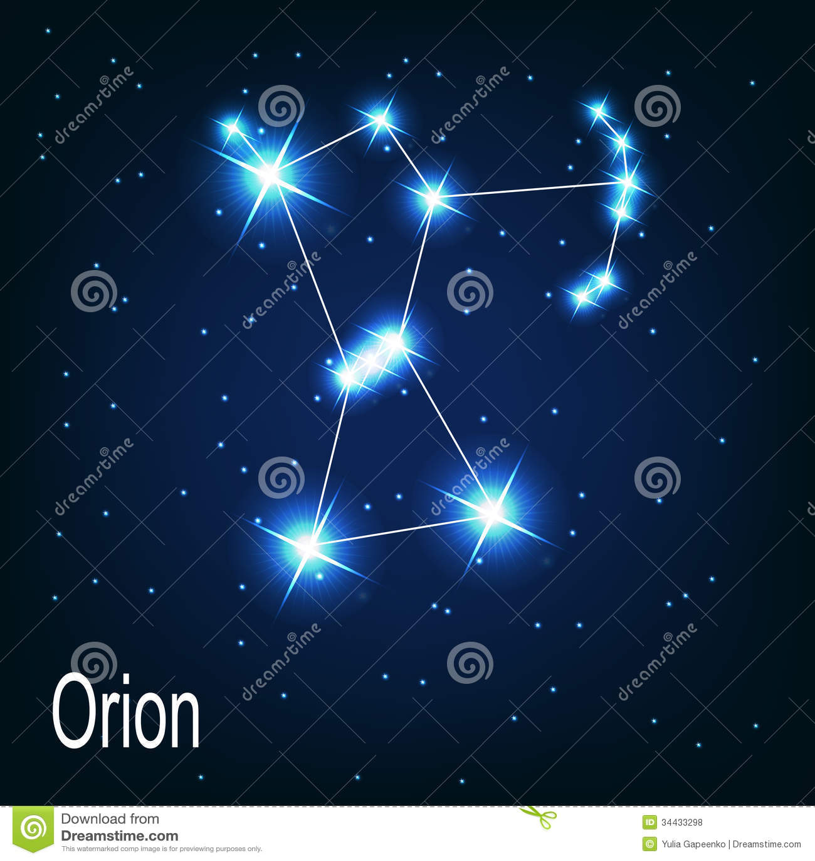 在夜空的星座猎户星座星。