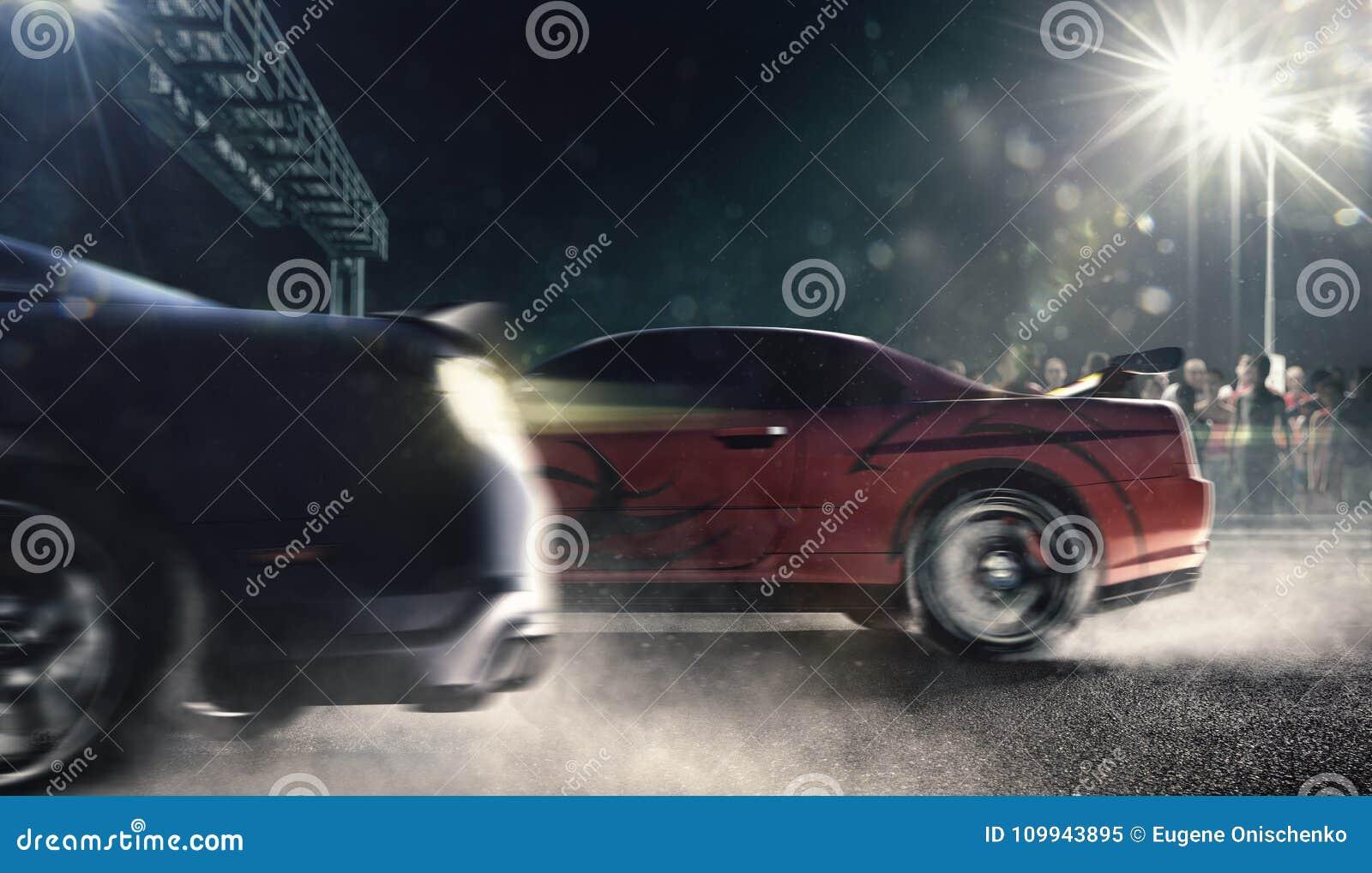 在夜轨道3d的阻力赛车回报