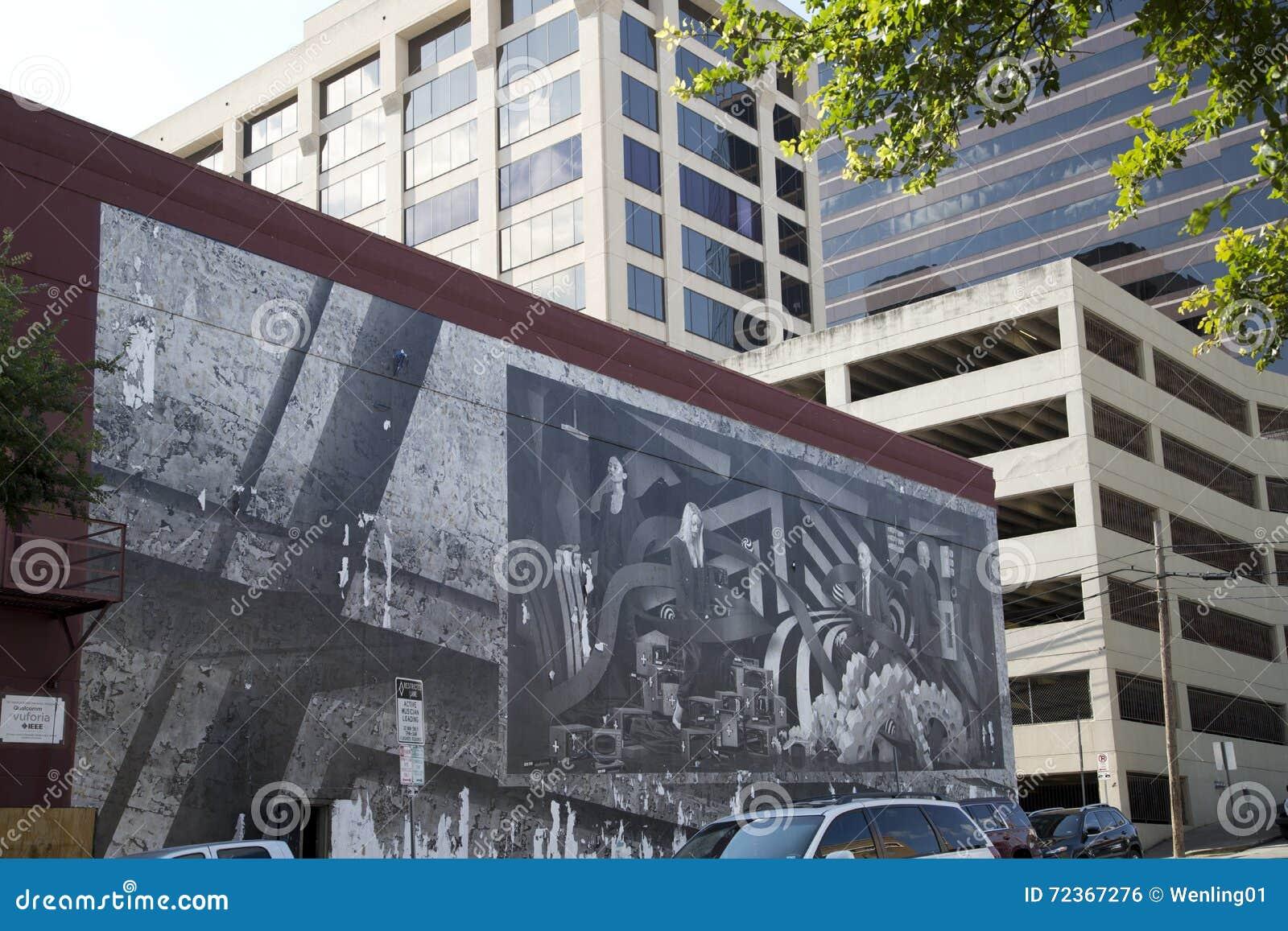 在大厦墙壁上的街道画