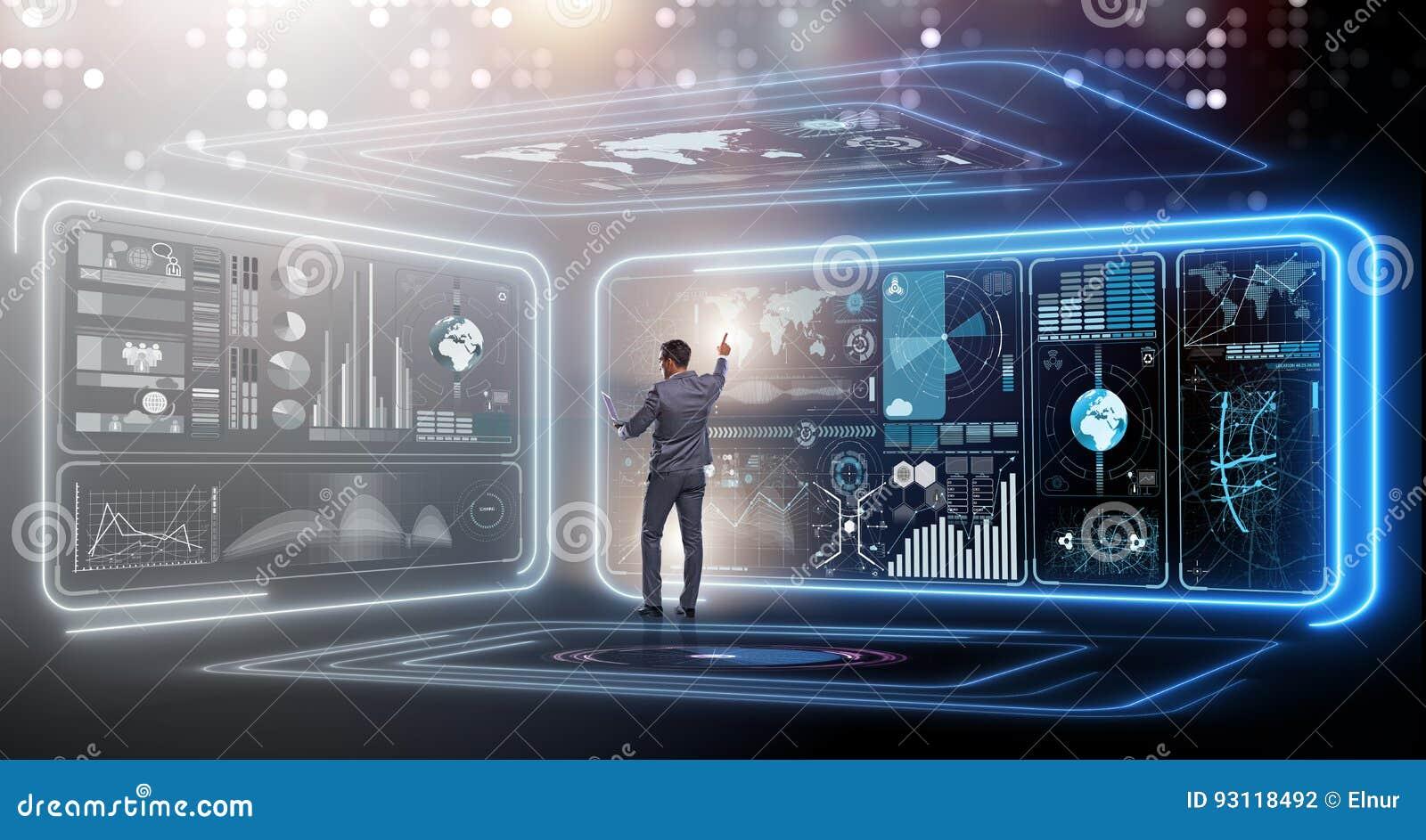 在大数据管理概念的商人