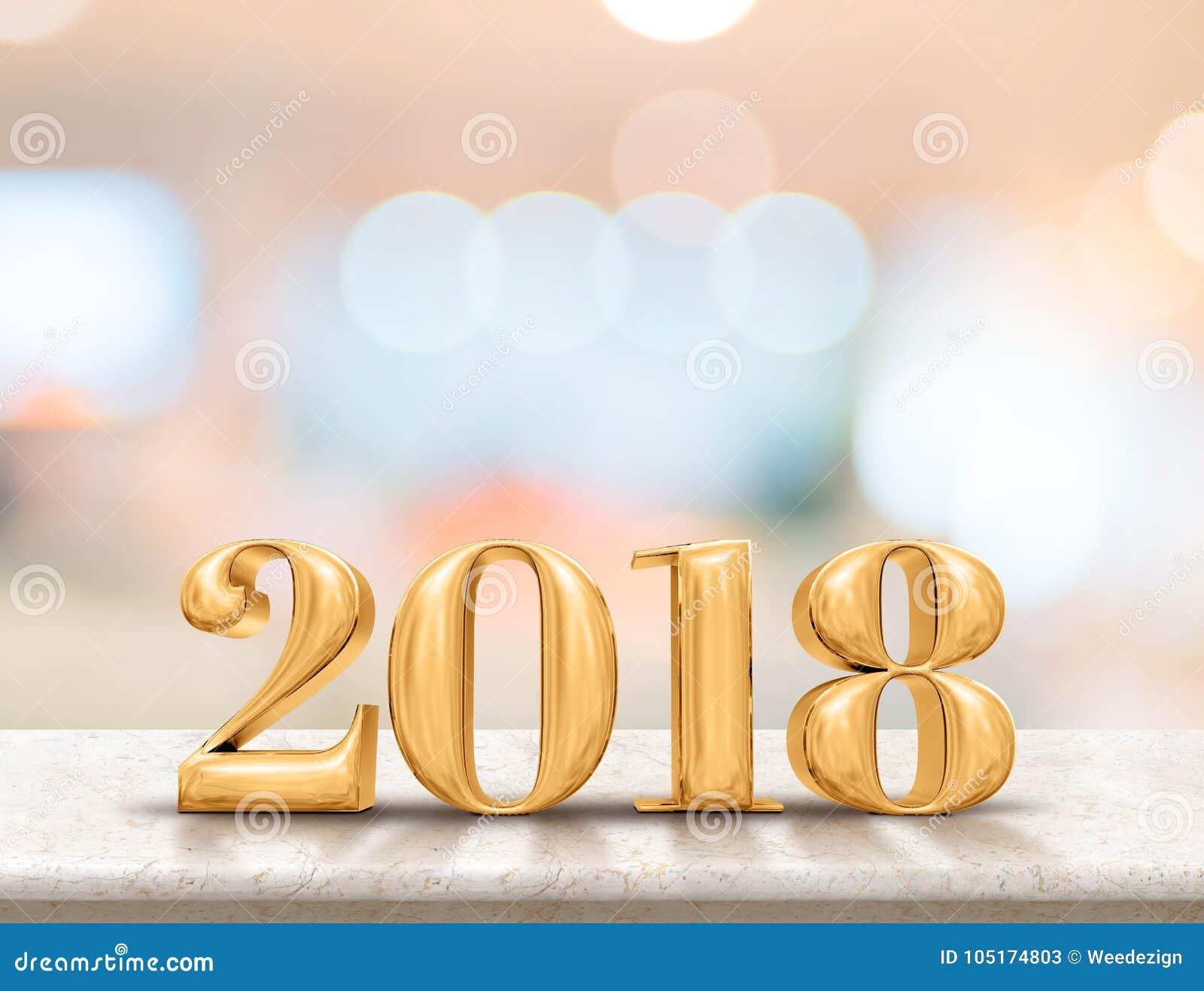 在大理石台式的新年好2018 3d翻译与迷离
