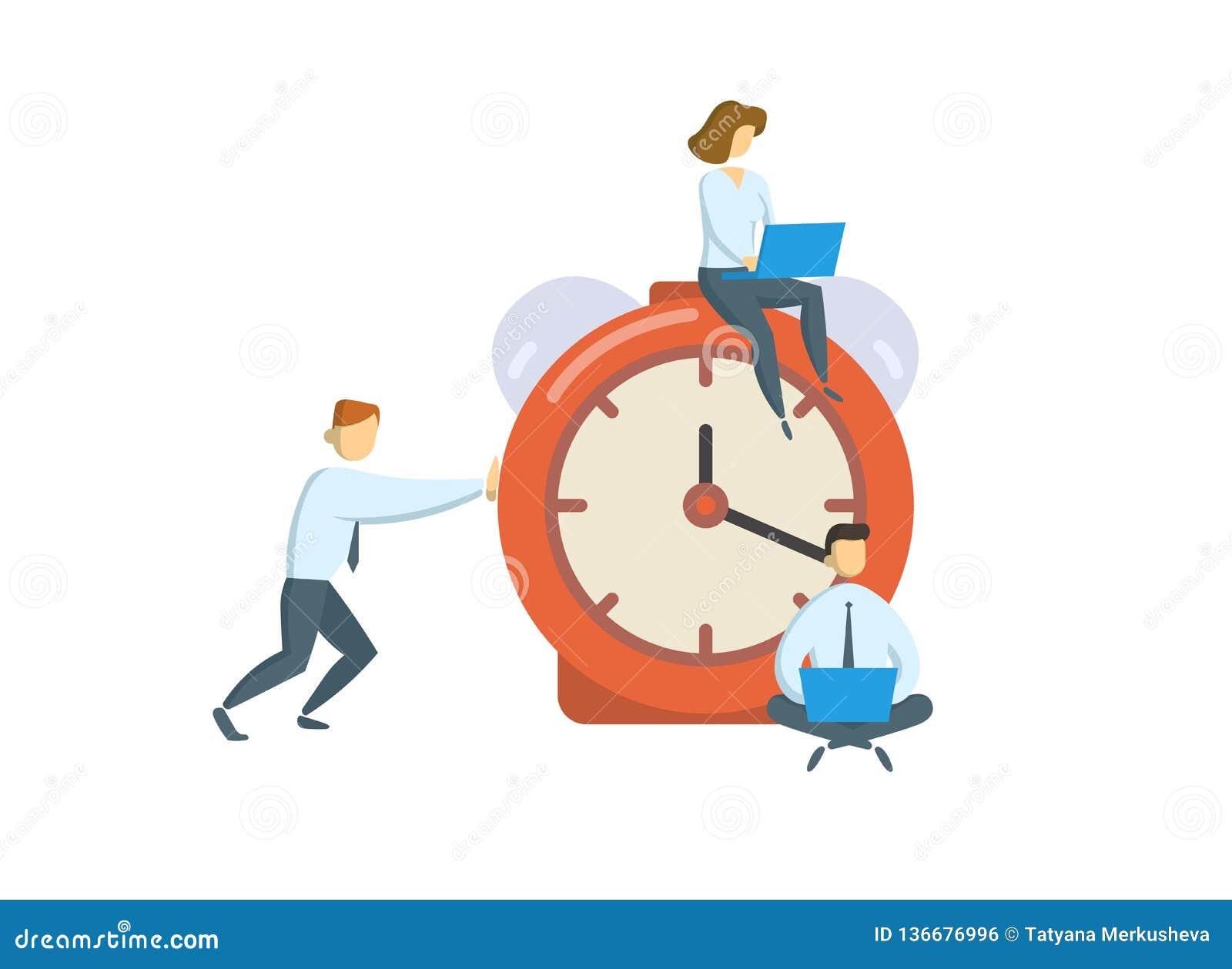在大闹钟附近的经理 事务,办公室时间概念 平的传染媒介例证 背景查出的白色