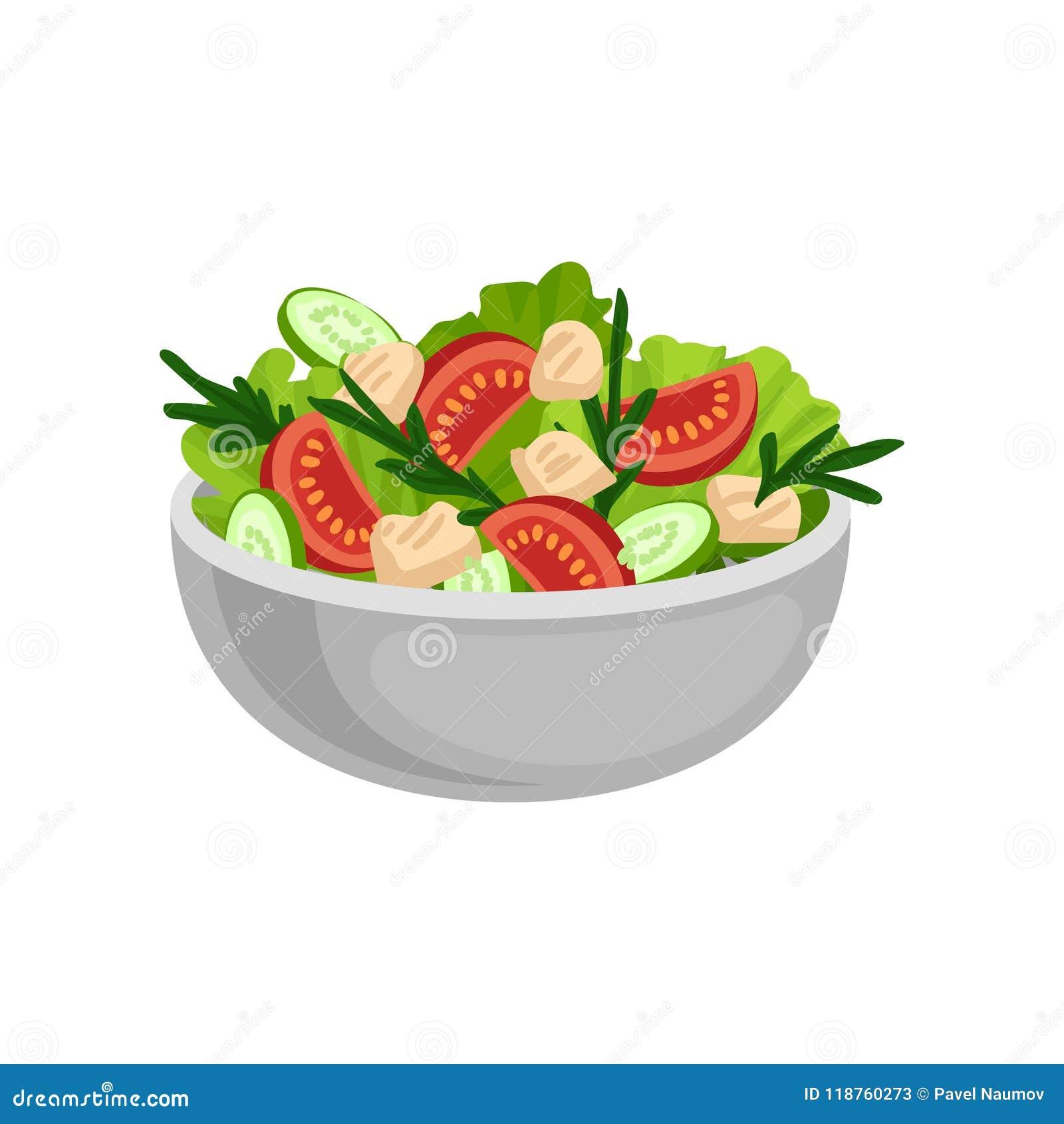 在大陶瓷碗的开胃沙拉 鲜美和健康吃 晚餐的可口膳食 平的传染媒介设计
