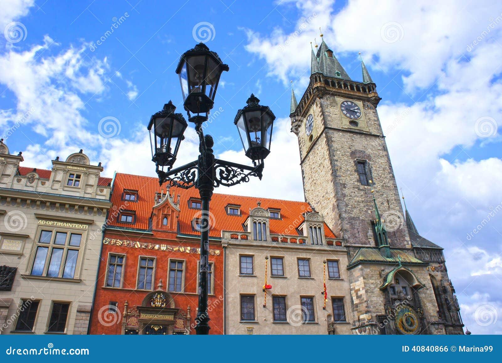 在天文学钟楼的灯笼在老镇布拉格