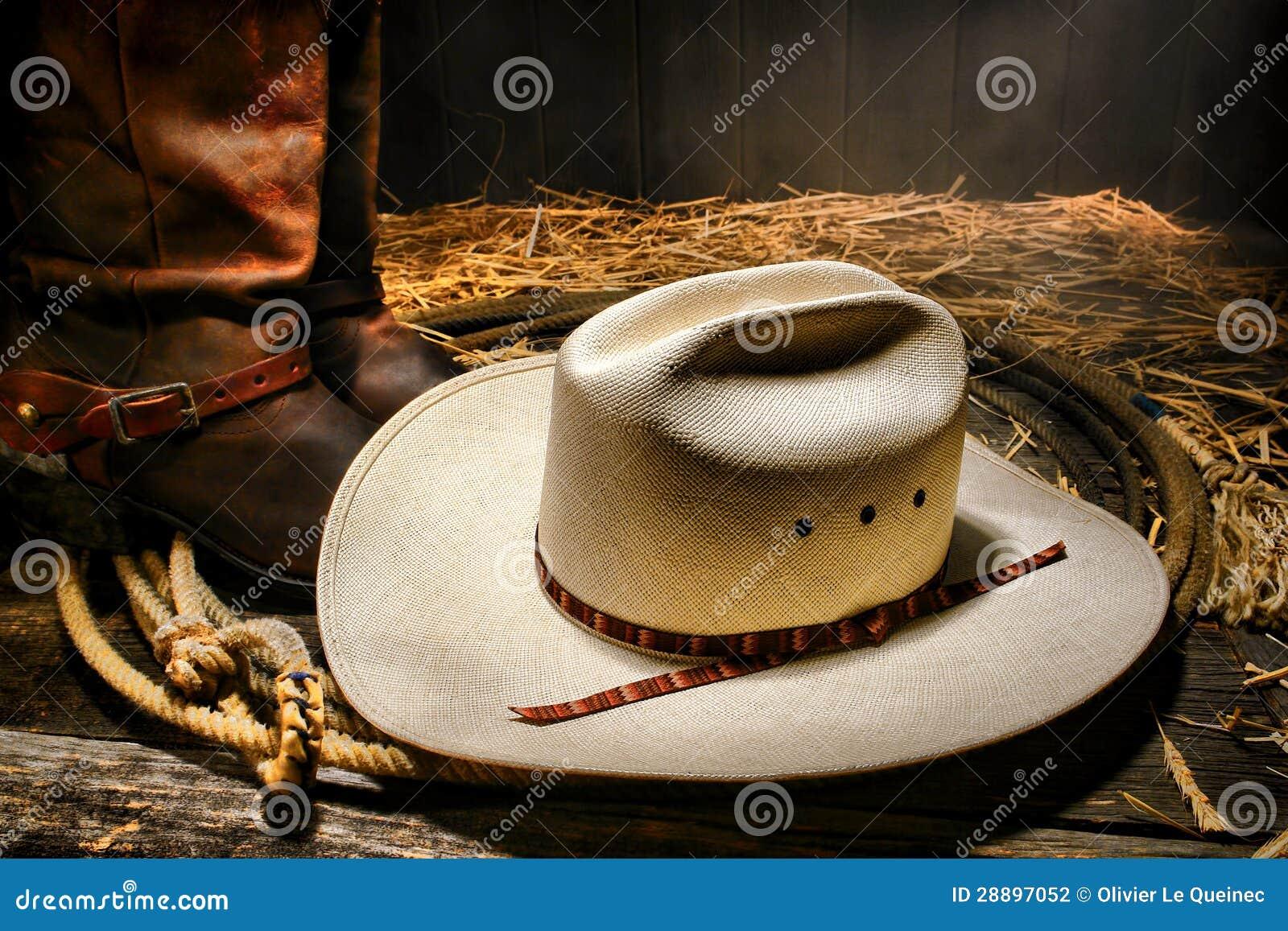 在套索的美国西方圈地牛仔帽与启动