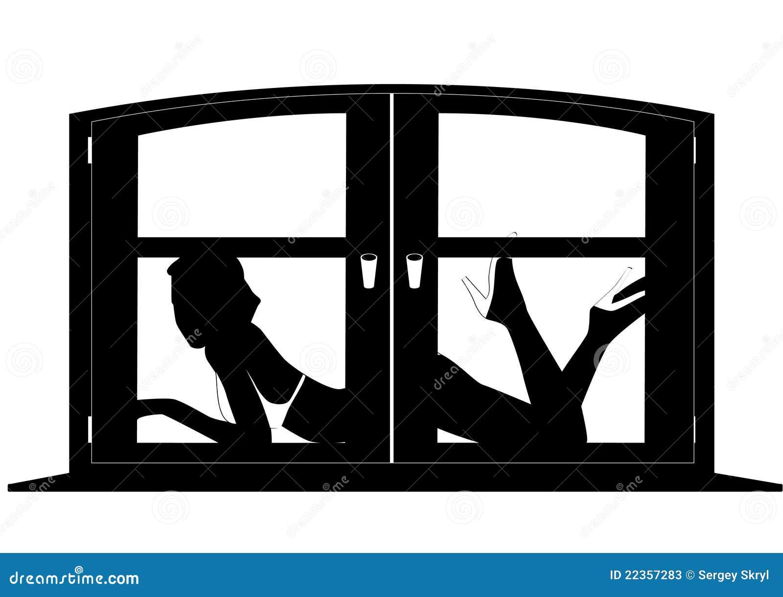 在女性剪影视窗之后