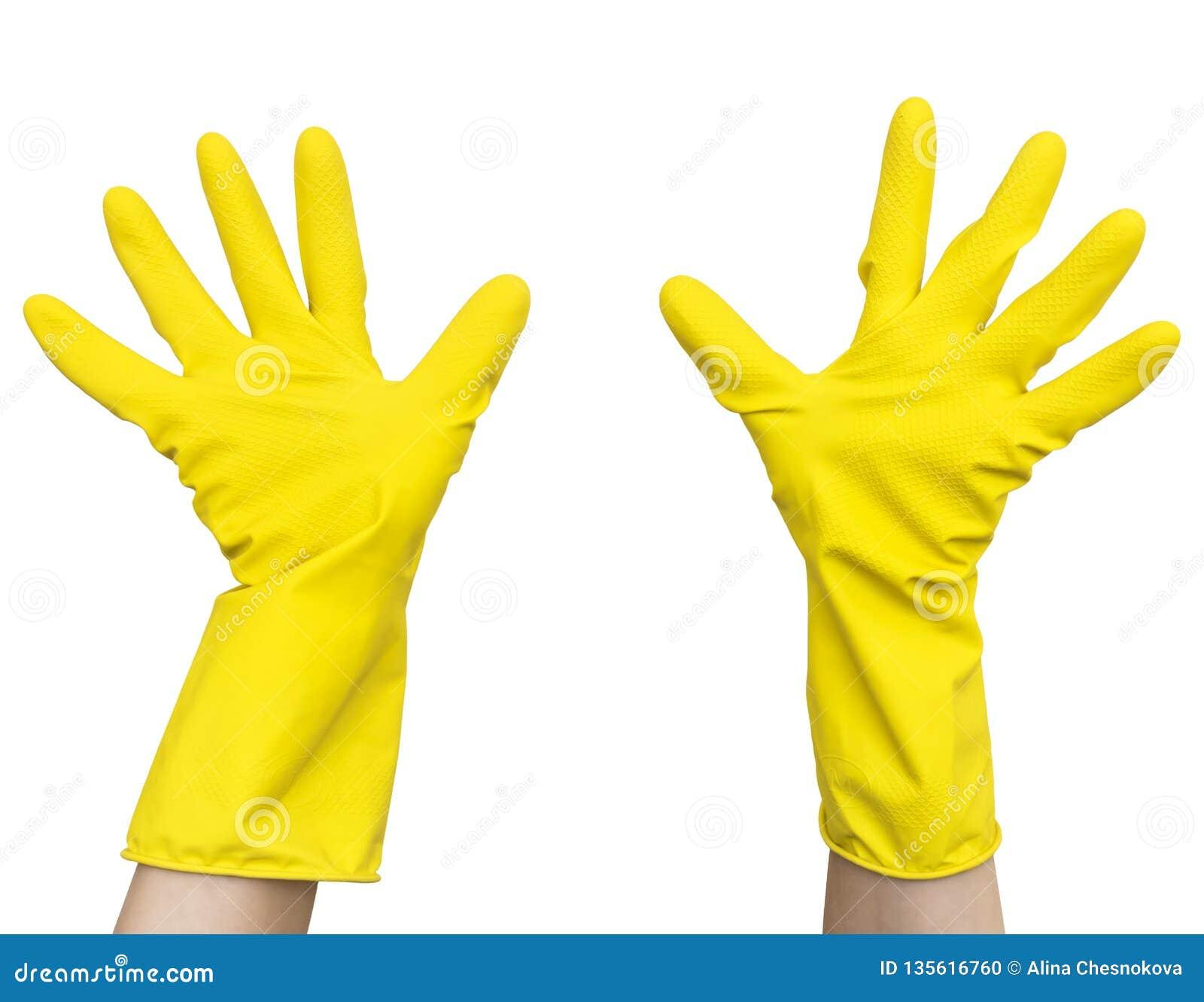 在女性手上的黄色胶乳清洁手套