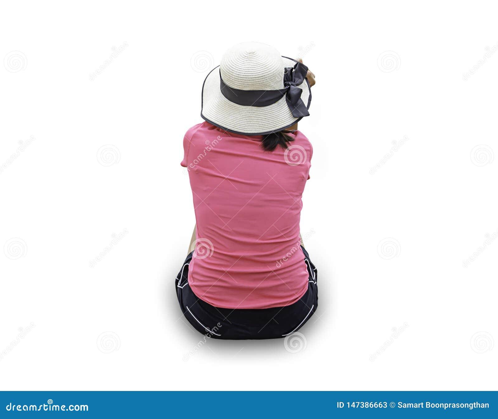 在妇女佩带的帽子后的图象坐与裁减路线的白色背景